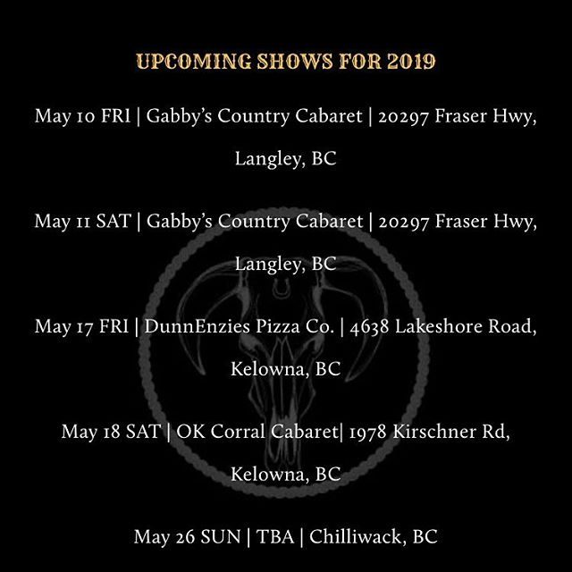 Mark your calendars!! May is gonna be a fun one! #country #honkytonkmusic #countrymusic #britishcolumbia #livemusic @theenzlive @gabbyscabaret @okcorralkelowna #somewhereinchilliwack