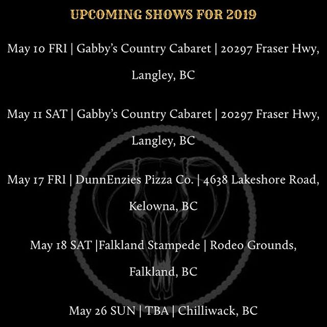 Howdy Folks! A minor change to our schedule! Falkland we are coming your way!! @gabbyscabaret @okcorralkelowna @theenzlive @falklandstampede  #outlawcountry #honkytonkmusic #rodeo