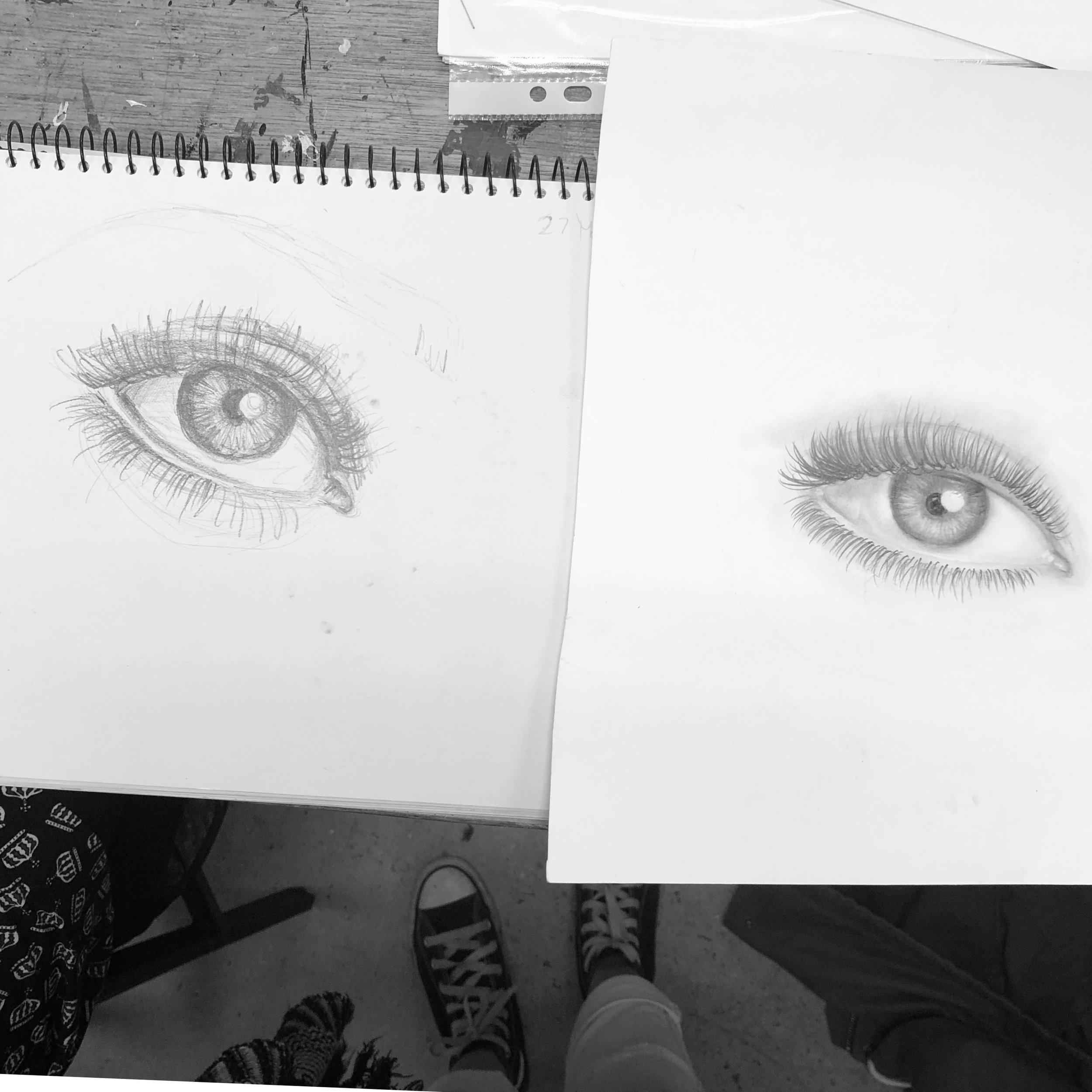 Eye Drawing - Week 1 Vs Week 6