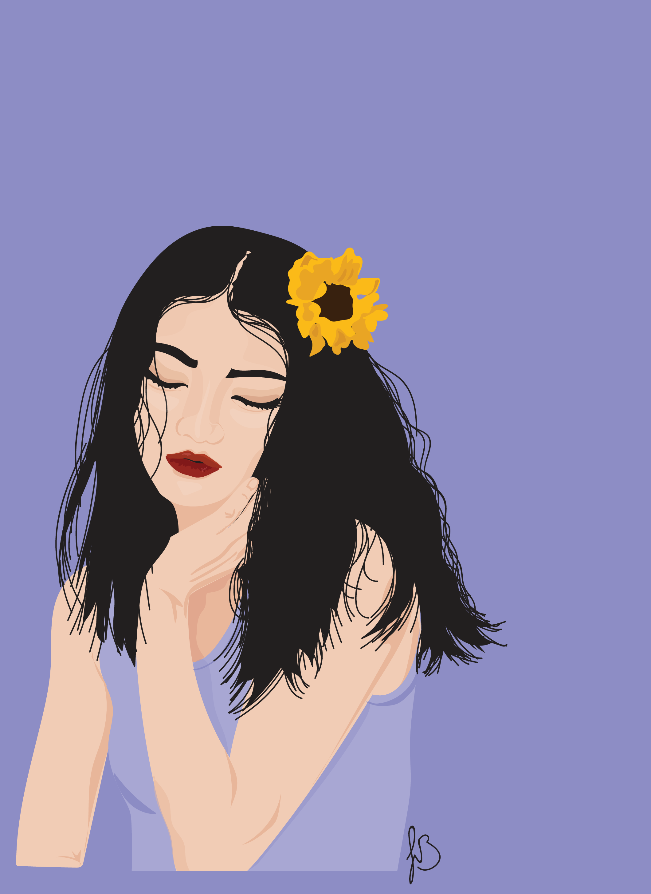 Sunflower In Hair Illustration by Jolie Brownell.png