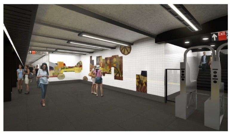 Rendering of upgraded 110th Street platform via MTA