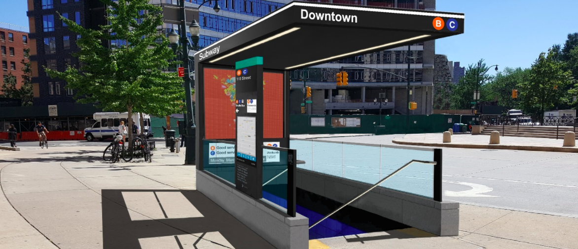 A rendering of the revamped 110th St. subway entrance.  Via MTA.