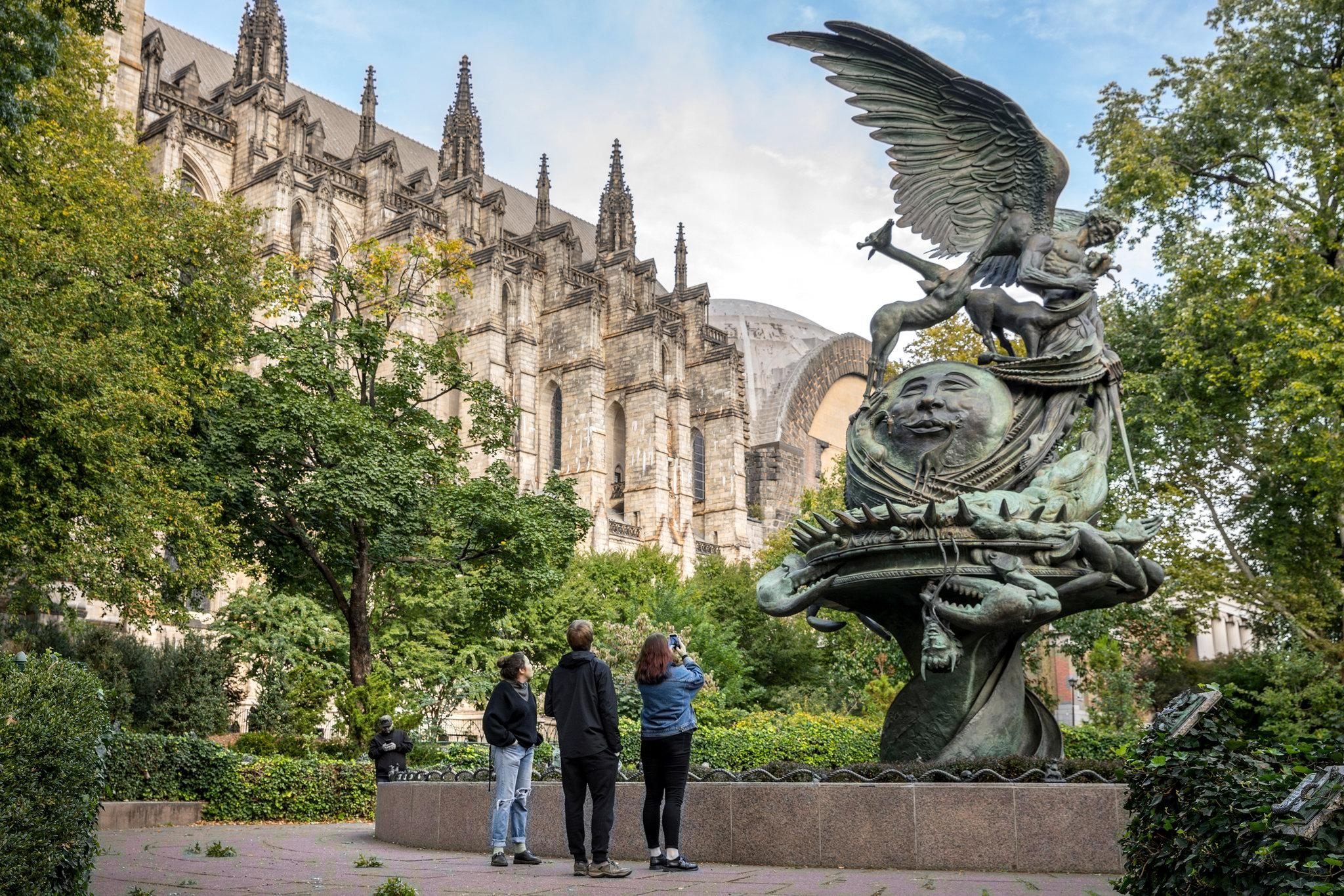 The 40-foot-high Peace Fountain is on the grounds of the Cathedral of Saint John the Divine, on Amsterdam Avenue north of West 110th, at the southern end of Morningside Heights.CreditTony Cenicola/The New York Times