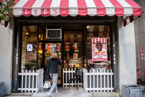 Known for its gourmet rugelach, this cheery red-&-white-themed bakery offers delivery services. -