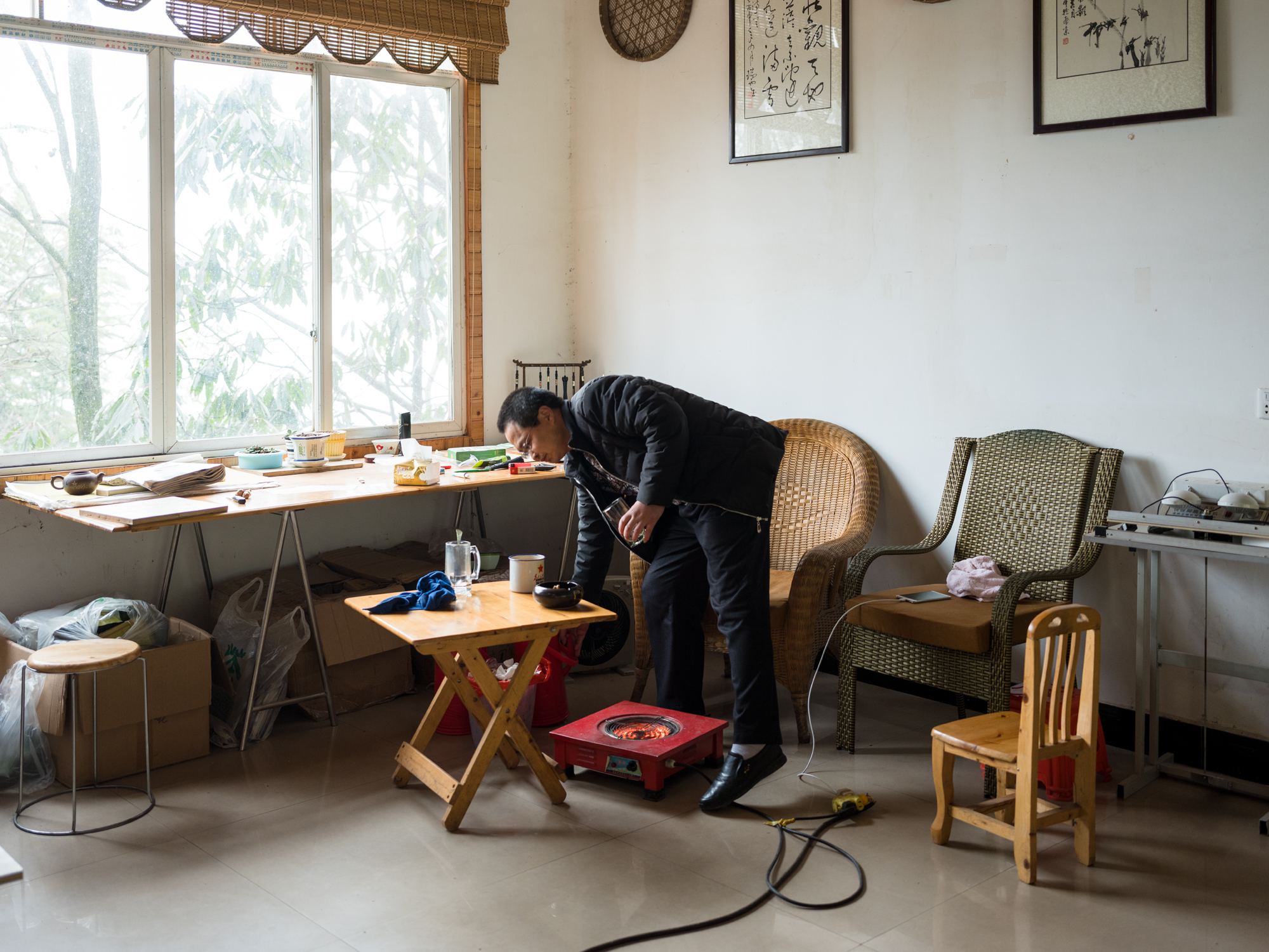 Nie in his office at Mengding mountain, Sichuan.