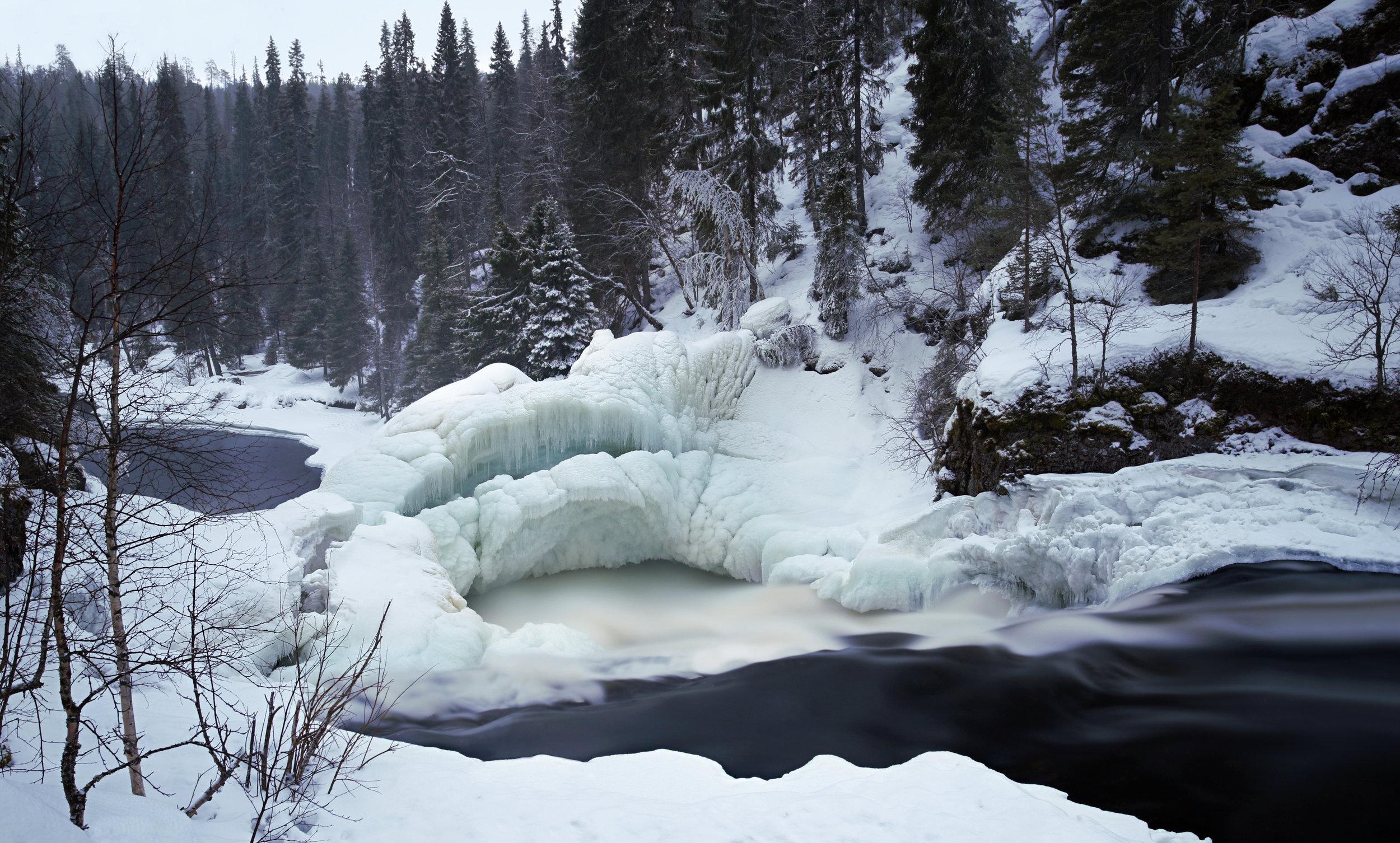 Jyrävä Waterfall Covered by Ice