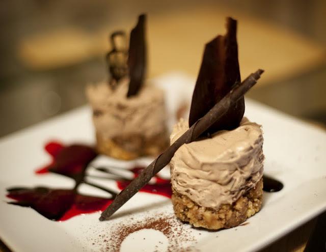 Chocolate dessert with chocolate work
