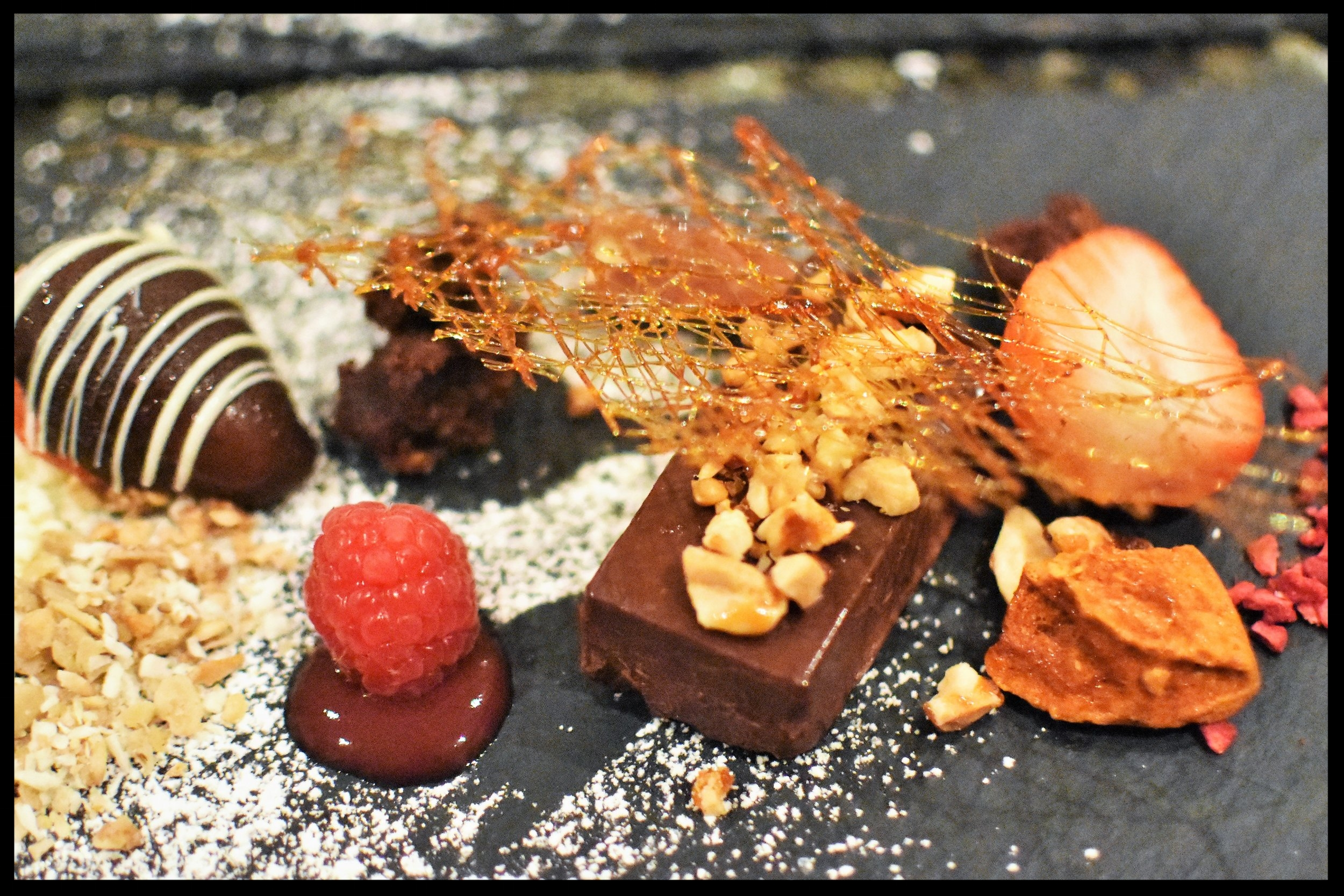 Chocolate and red berry dessert