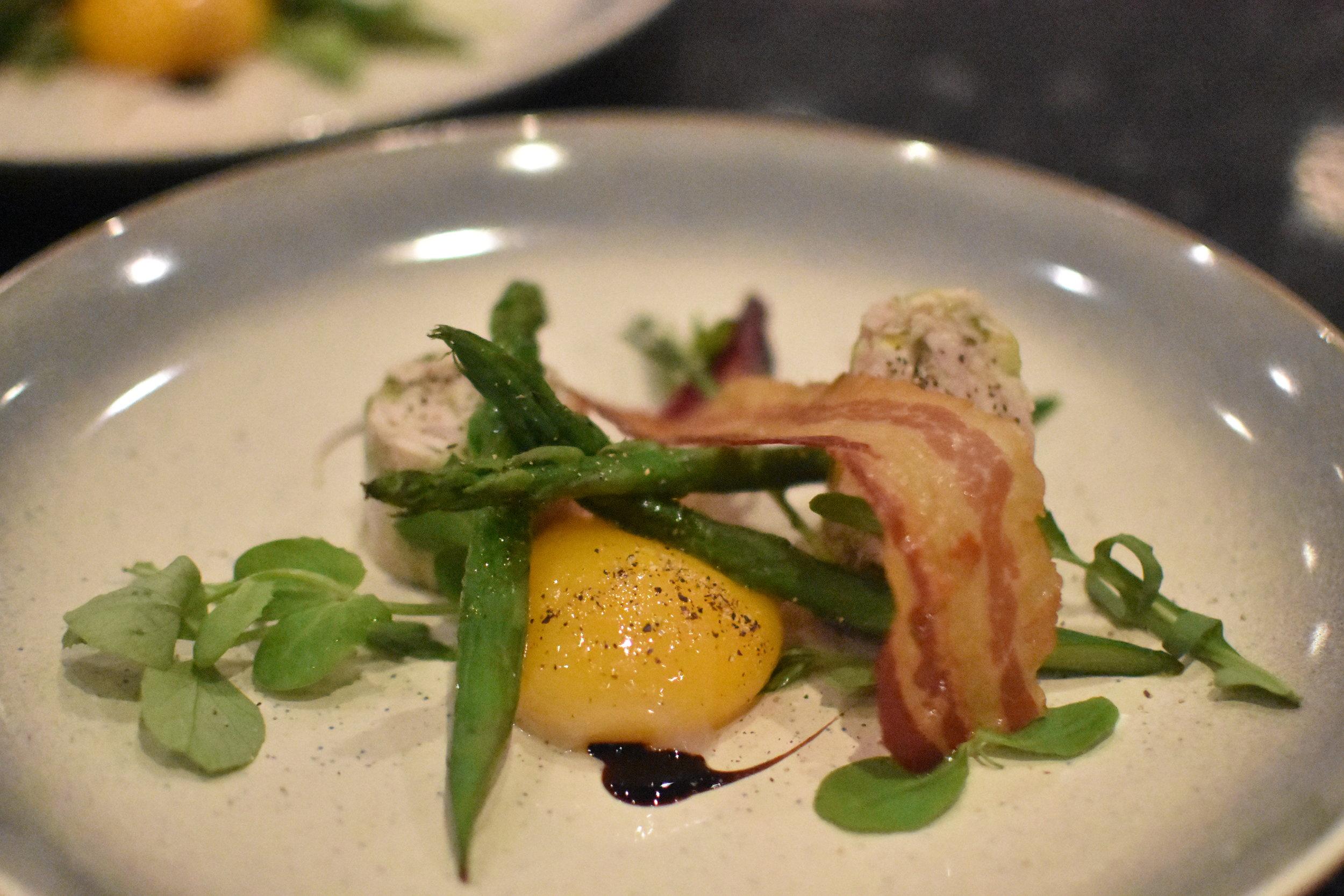 Pulled chicken terrine - crisp pancetta - slow cooked duck egg yolk
