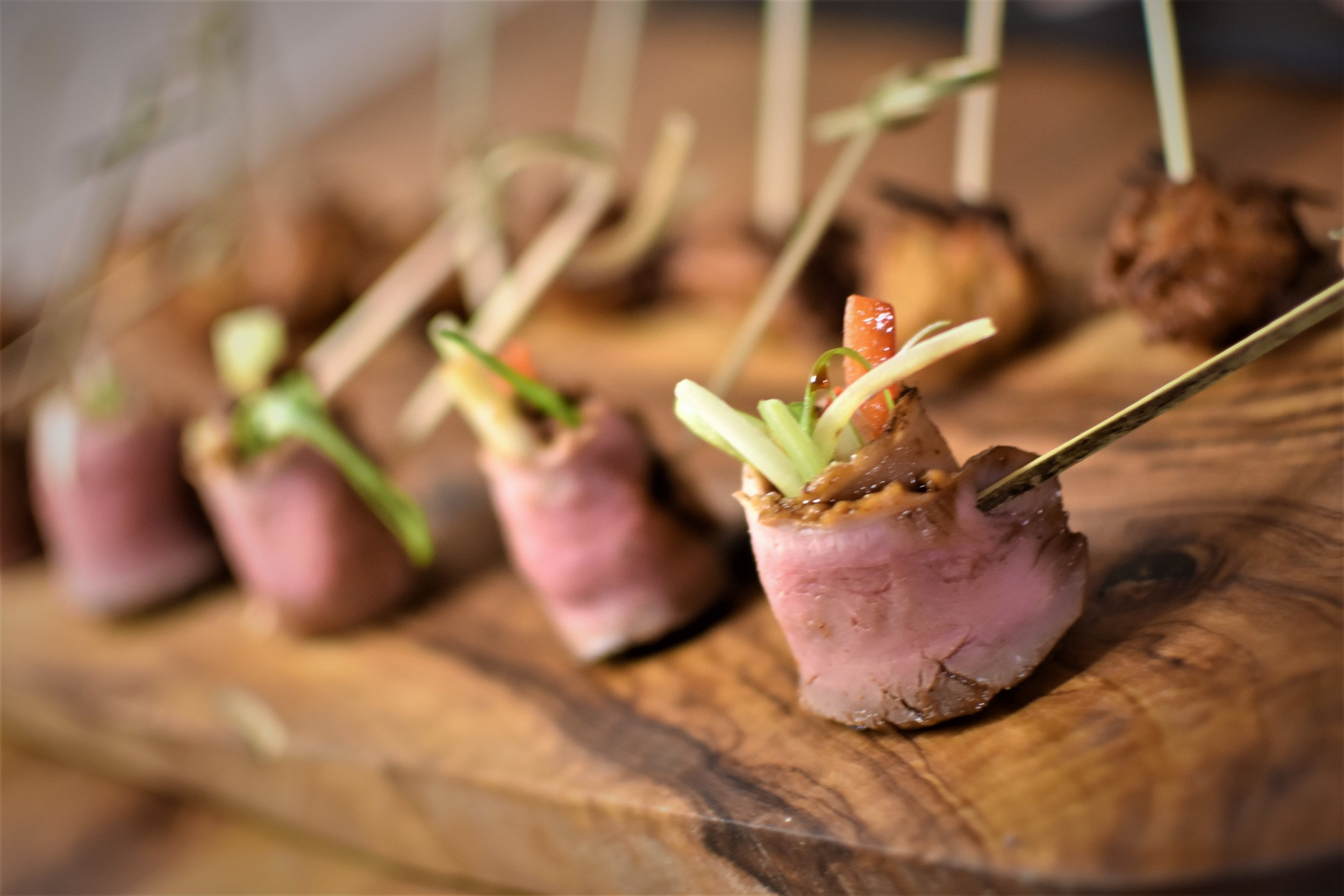Smoked duck canape