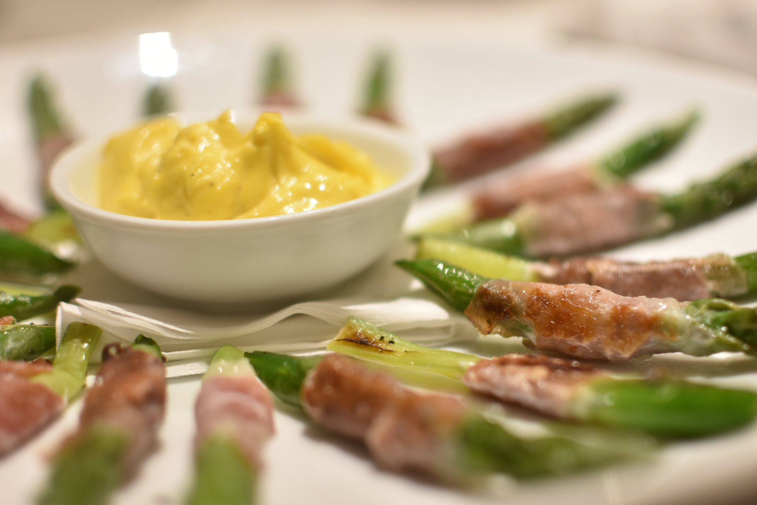 Asparagus spears and Parma ham - canapes