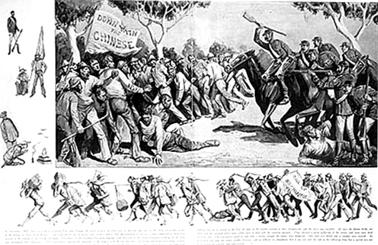 发生于1860年12月的蓝坪洲暴力事件。 Courtesy National Archives of Australia