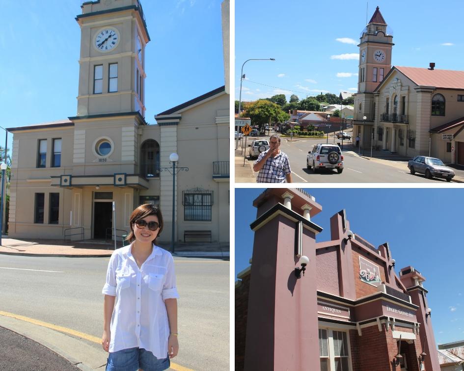 左图为作者在Gympie市政厅;右上图为Gympie镇玛丽街;右下图为一间古董商店