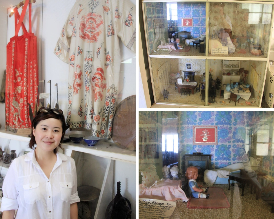 左图为作者在博物馆内的19世纪华人矿工生活展品前;右上图和右下图为19世纪城镇小孩使用过的玩具房子
