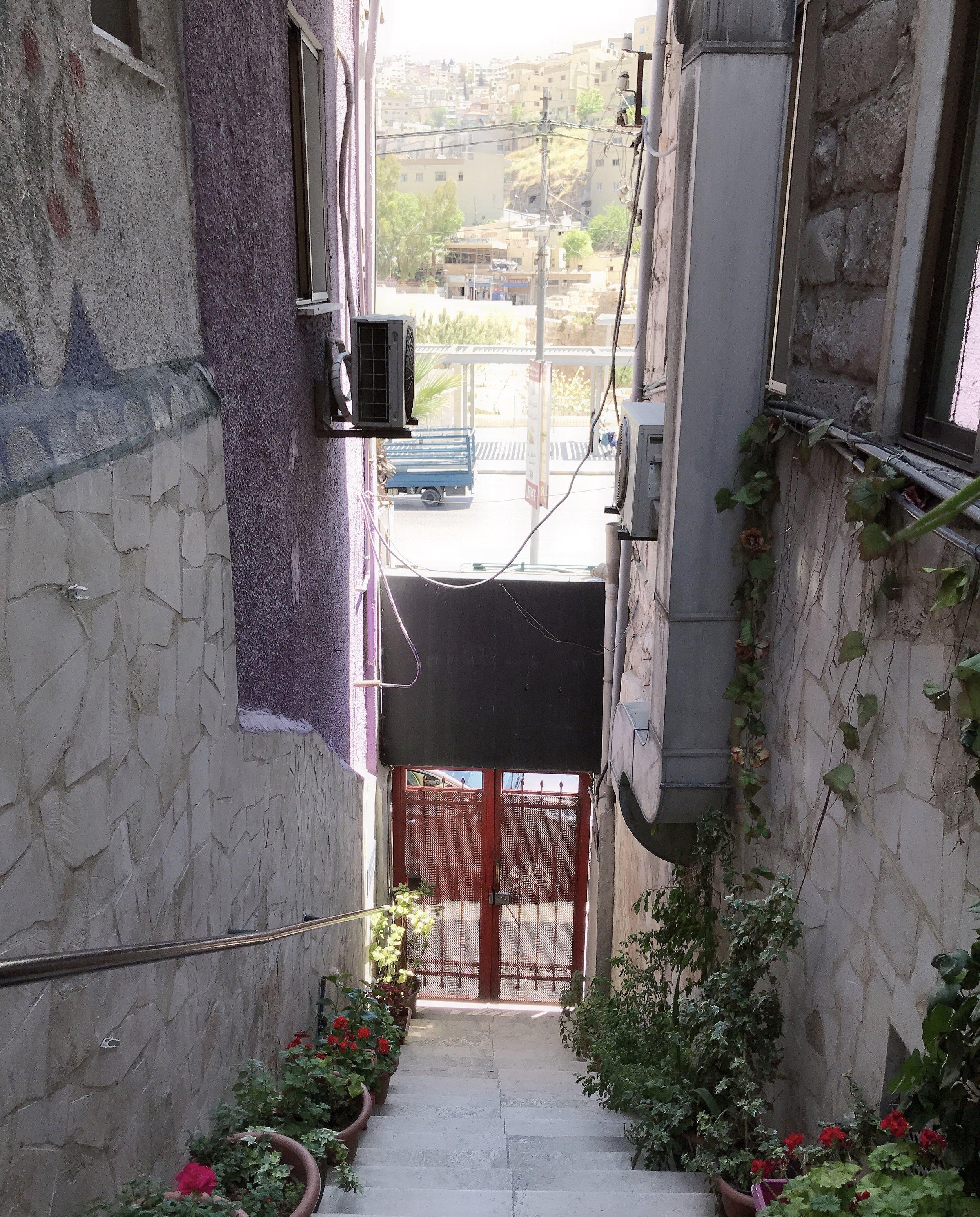 从台阶上往下看旅馆的正门:一个红色铁门。铁门外就是Hashemi街。