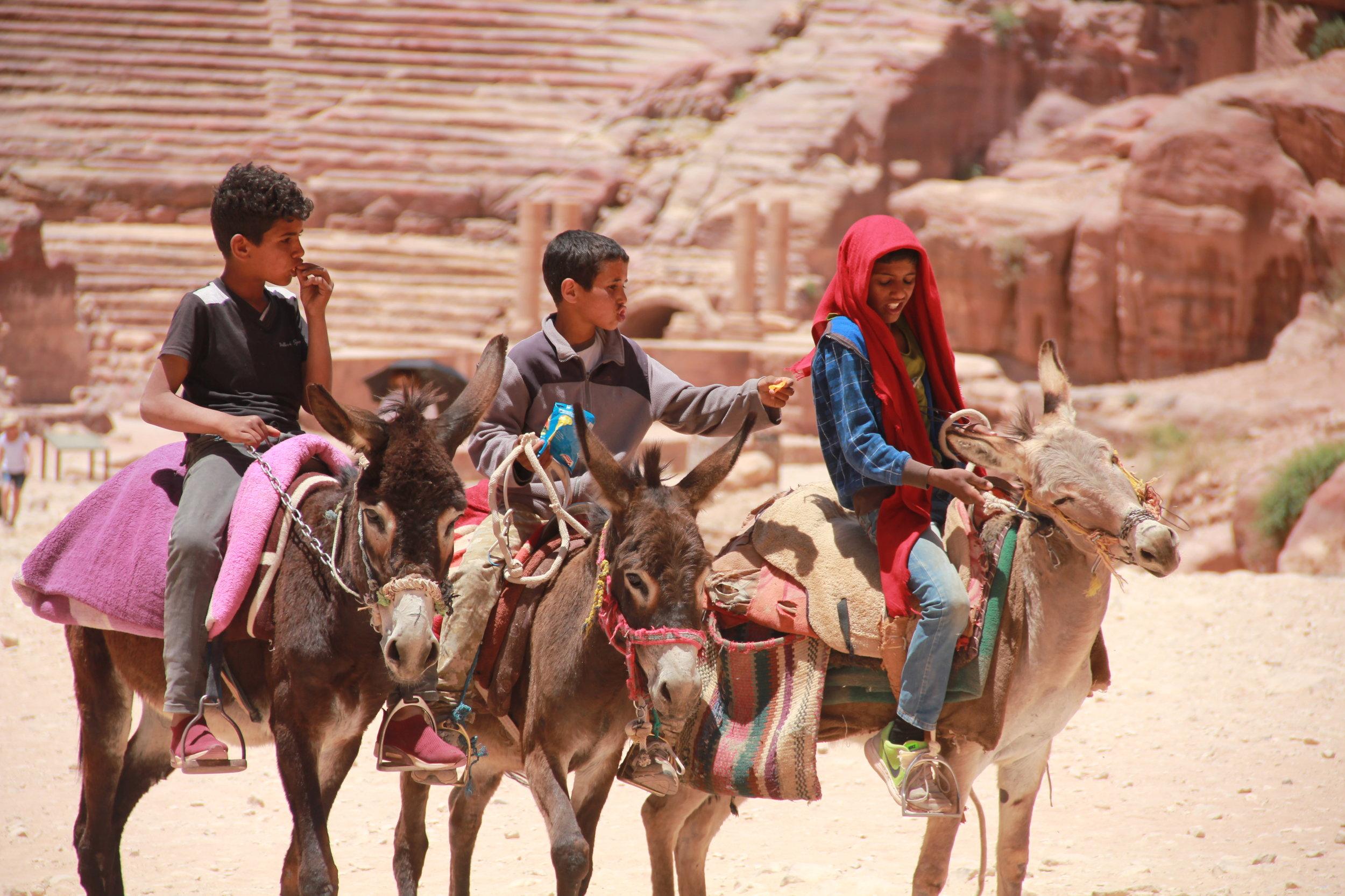 骑着驴儿的另外三名贝都因男孩