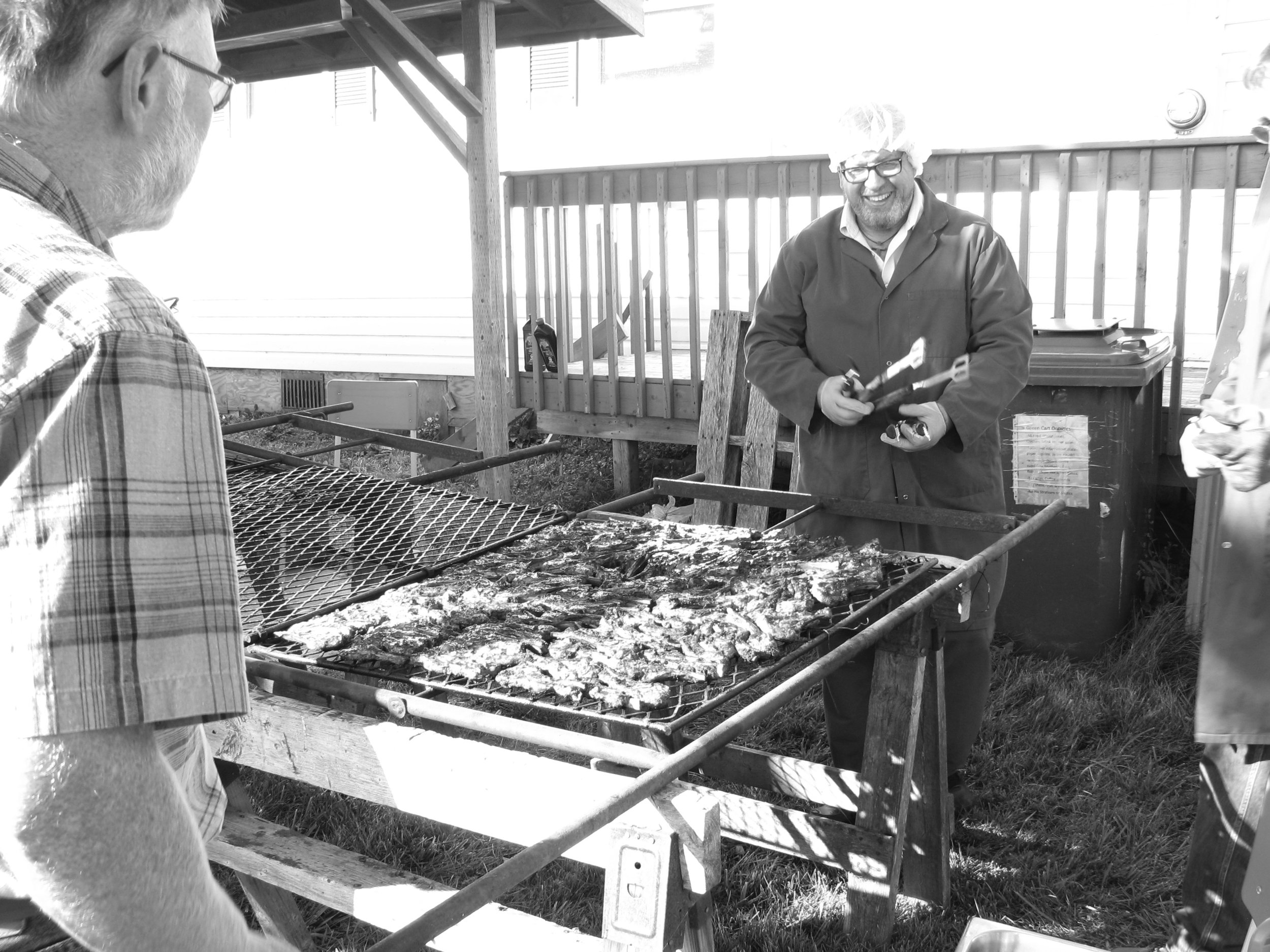 A smiling Mike Isenor inspects the lamb chops he barbecued for those attending the NorthumberLamb anniversary celebrations.
