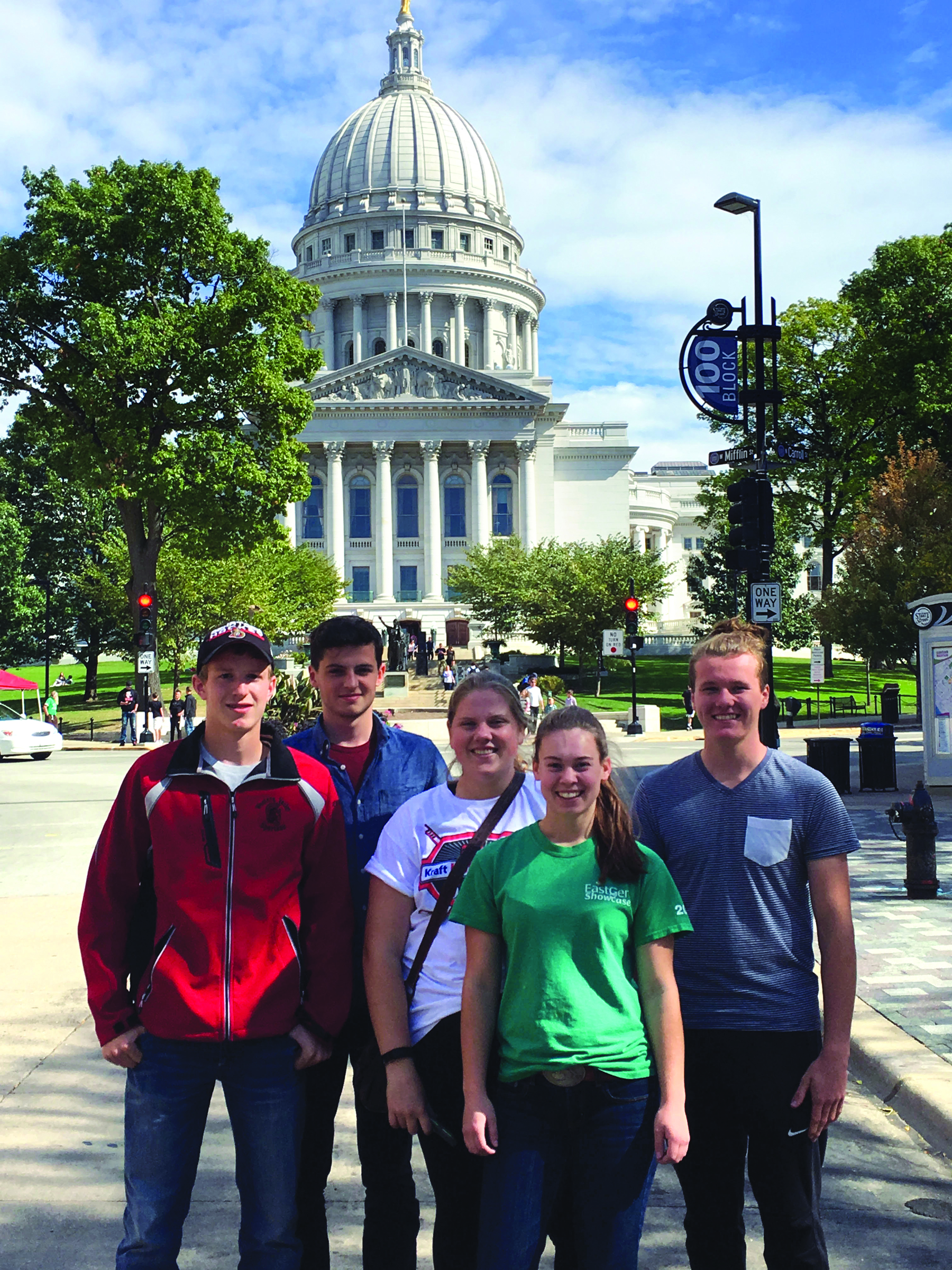 From left, Adrian Bent, Reilly Riordin, Nicolle MacDonald, Grace Hughes, and Brogan Keenan in front of the Capitol building in Madison, Wis. (Submitted photo)