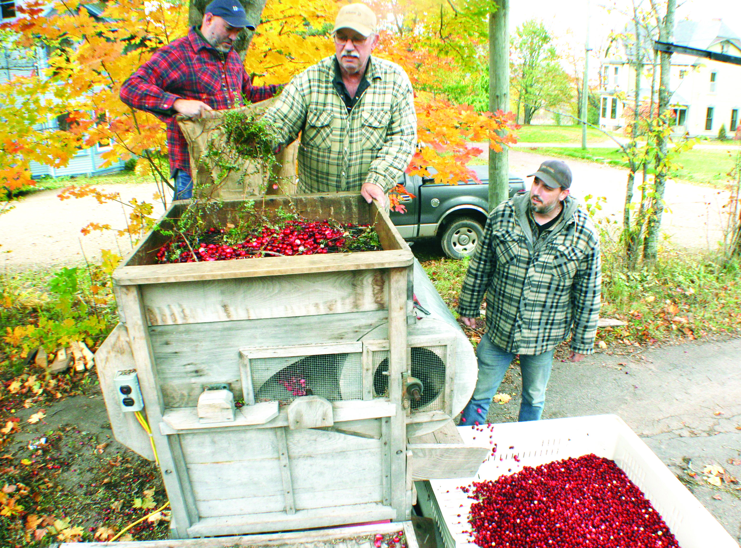 After the cranberries are harvested, they go through a blower machine, which removes most leaves and other vine debris. From left, Josh Allaby, Melvin Goodland, and Matthew Goodland use a vintage wooden blower machine at the Goodland home.