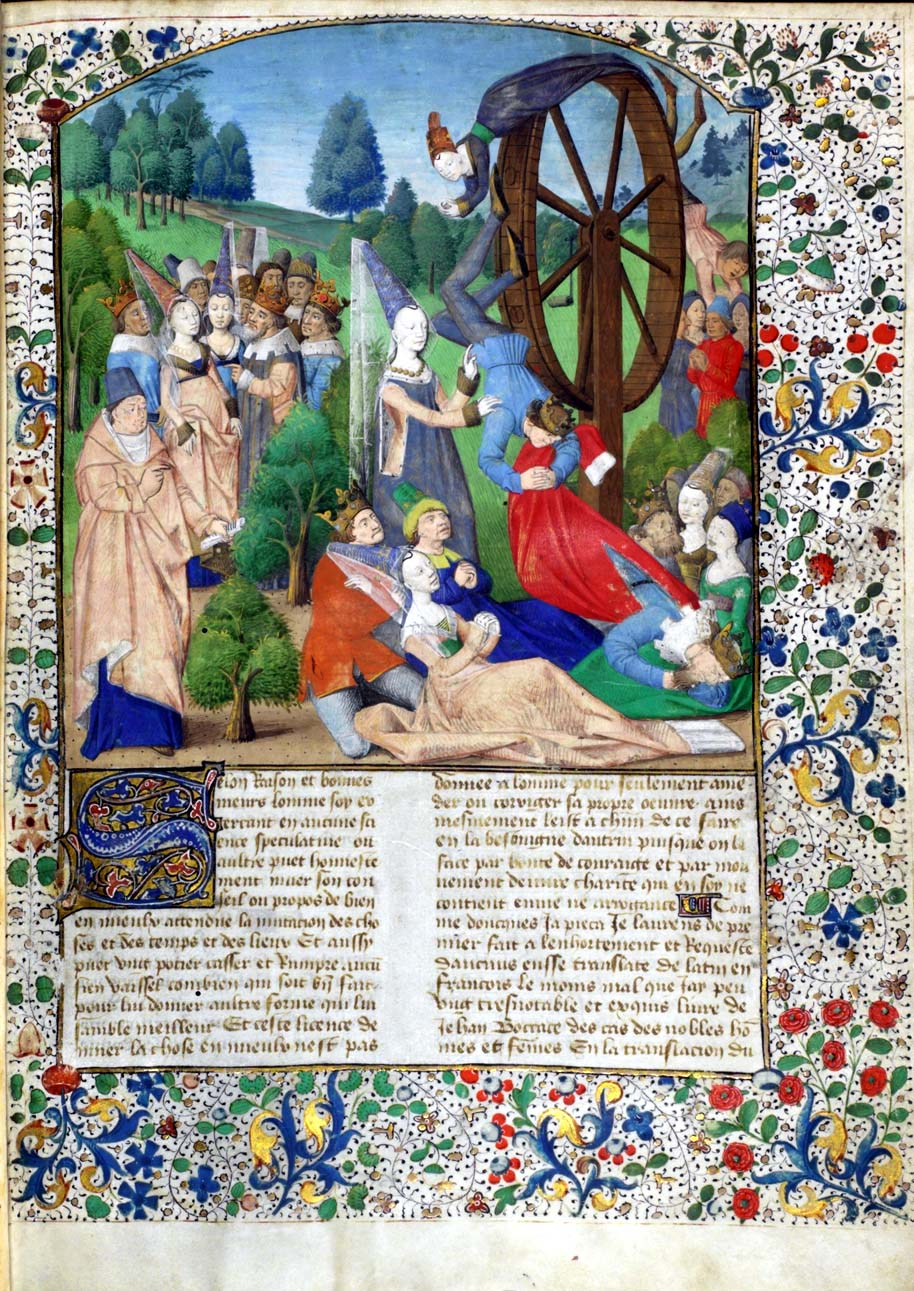 This is a page from a copy of Boccaccio's writings, featuring this bold image of Fortune and her wheel.