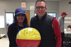 K+L Storytellers CEO Michele Kelly and Waubonsee Community College Athletic Director Kevin Vest at the Batavia Youth Baseball Summit.