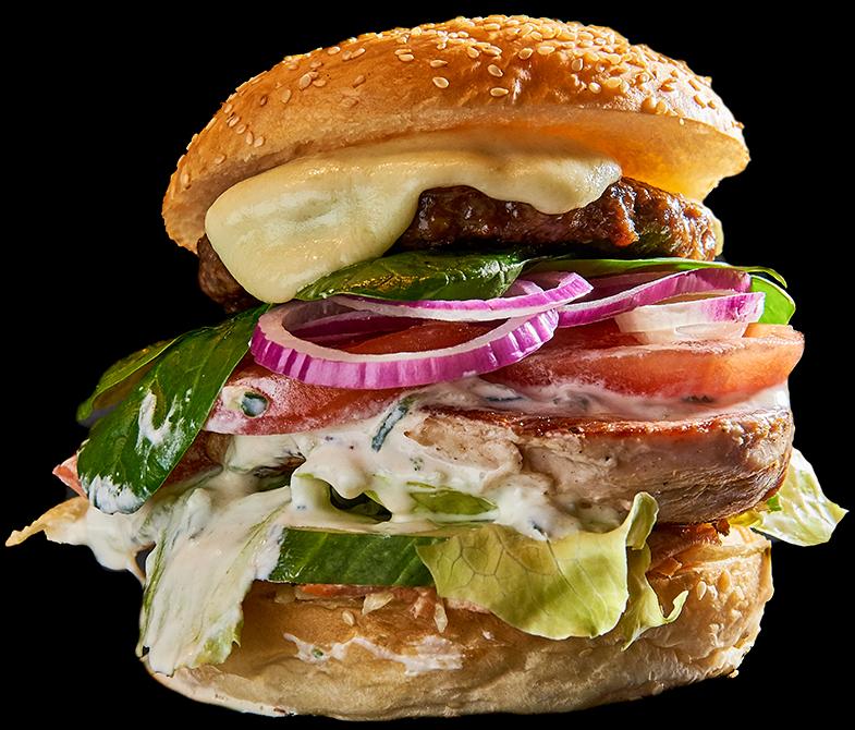 BurgerBarBurger - mit Beef- UND Pouletbrust-Patty, Eisbergsalat, Tomaten, Salatgurke, Zwiebeln, Tzatziki, Coleslaw und Mozzarella19.70