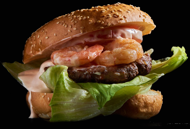 Beach Boy Burger - mit Crevetten, Cocktailsauce, Salatgurke und Tomate16.50