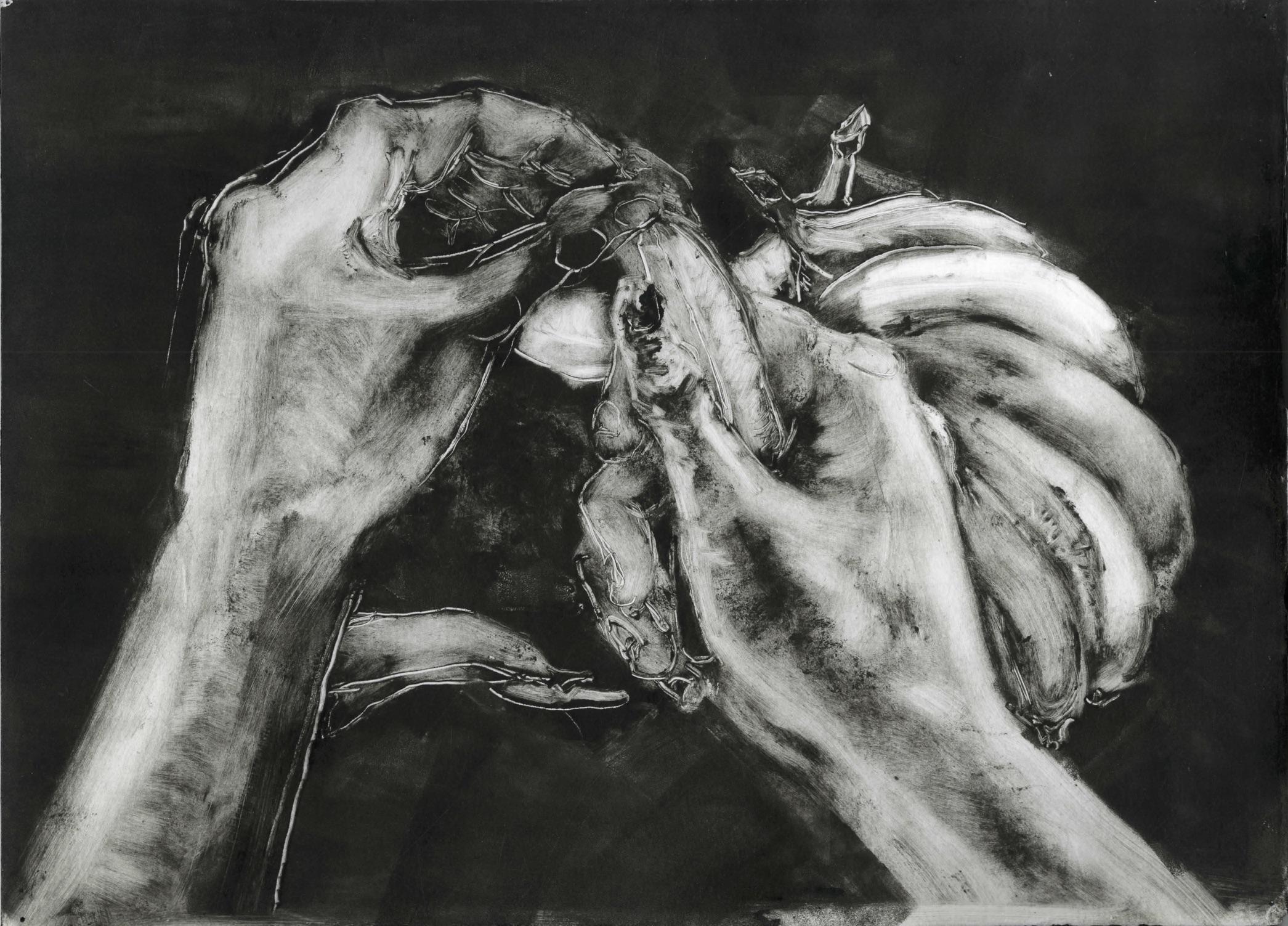 """Peel (2018), Monoprint, 12""""x13.5"""""""