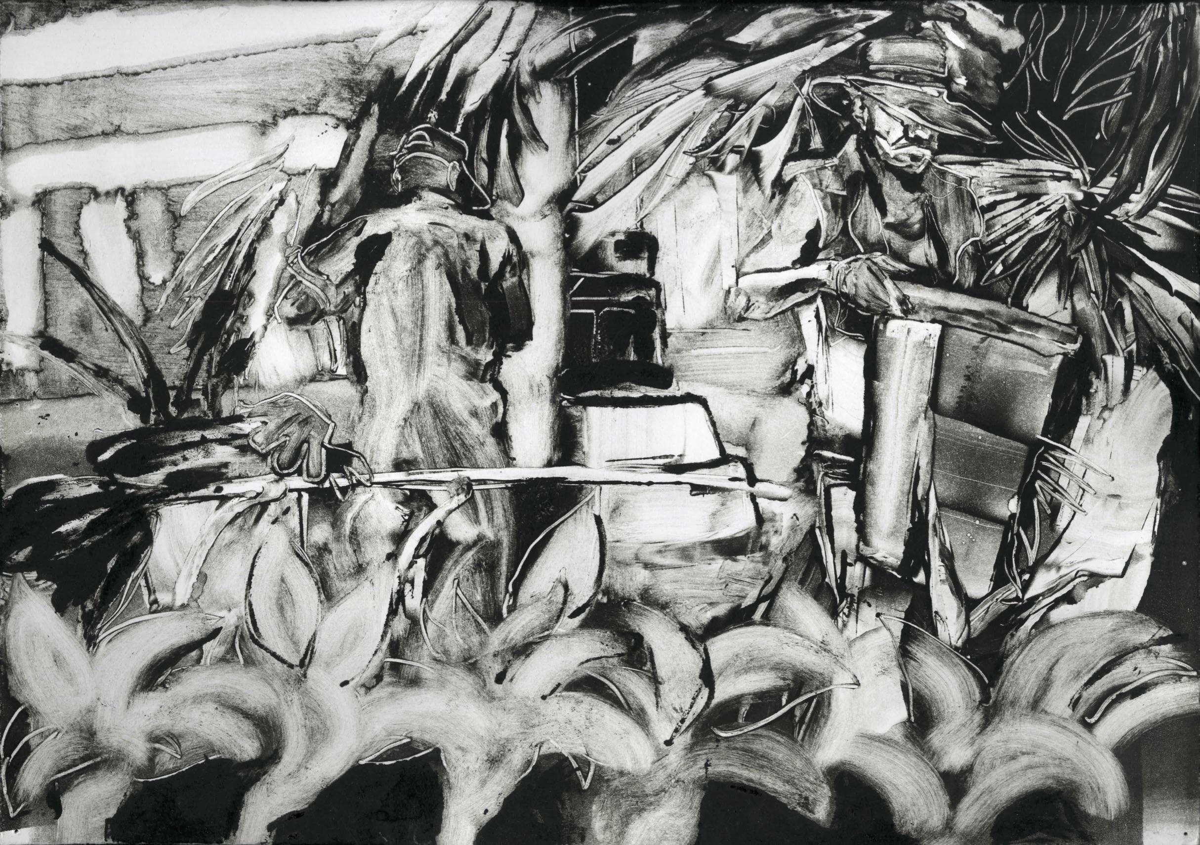 """Los Basureros (2018), Monoprint, 12""""x14"""""""