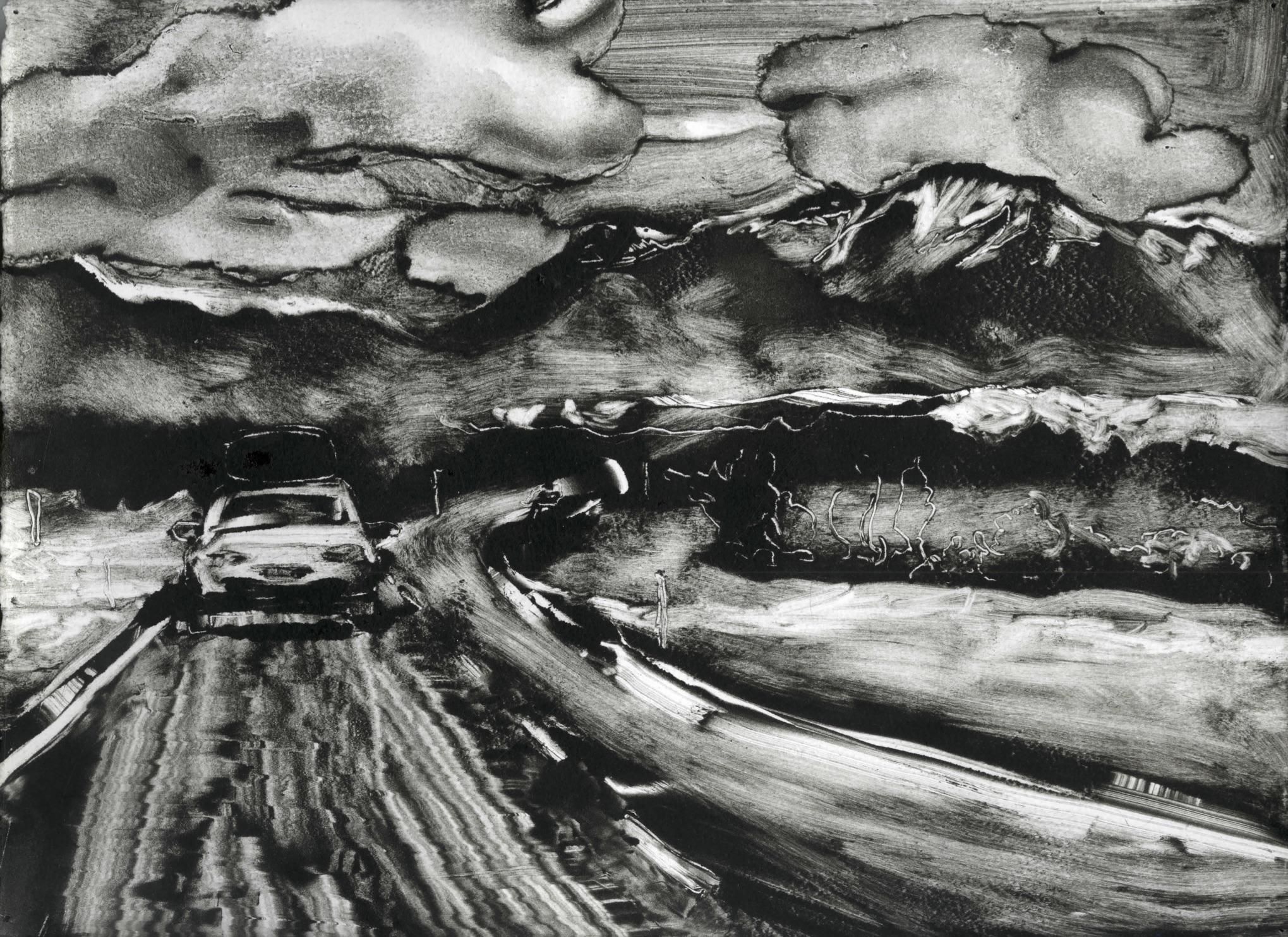 "Ride Home Through Colorado (2018), Monoprint, 9""x12"""