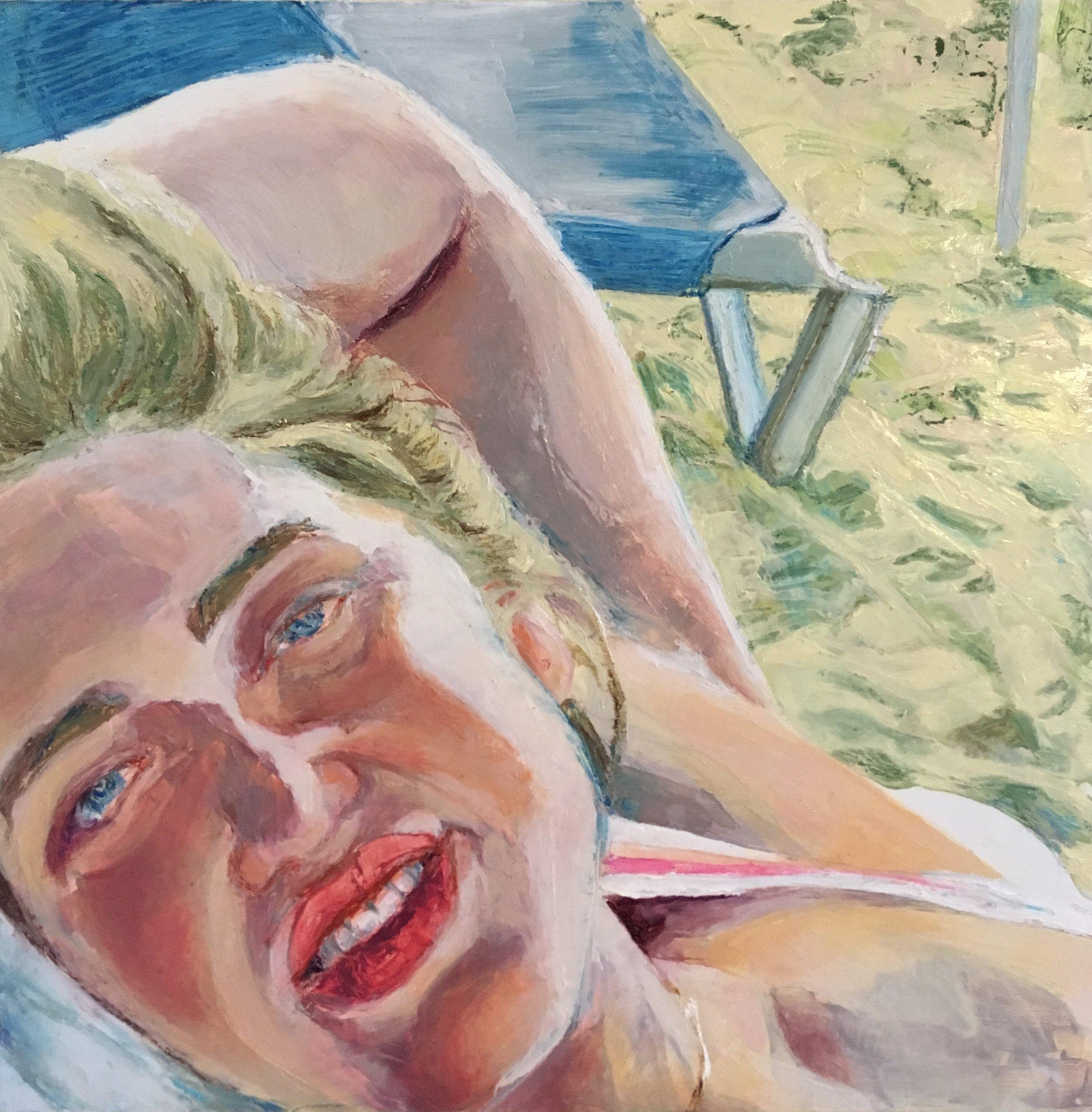 "Playa Megano (2018) Oil, Acrylic and Pastel on Panel, 12""x12"""