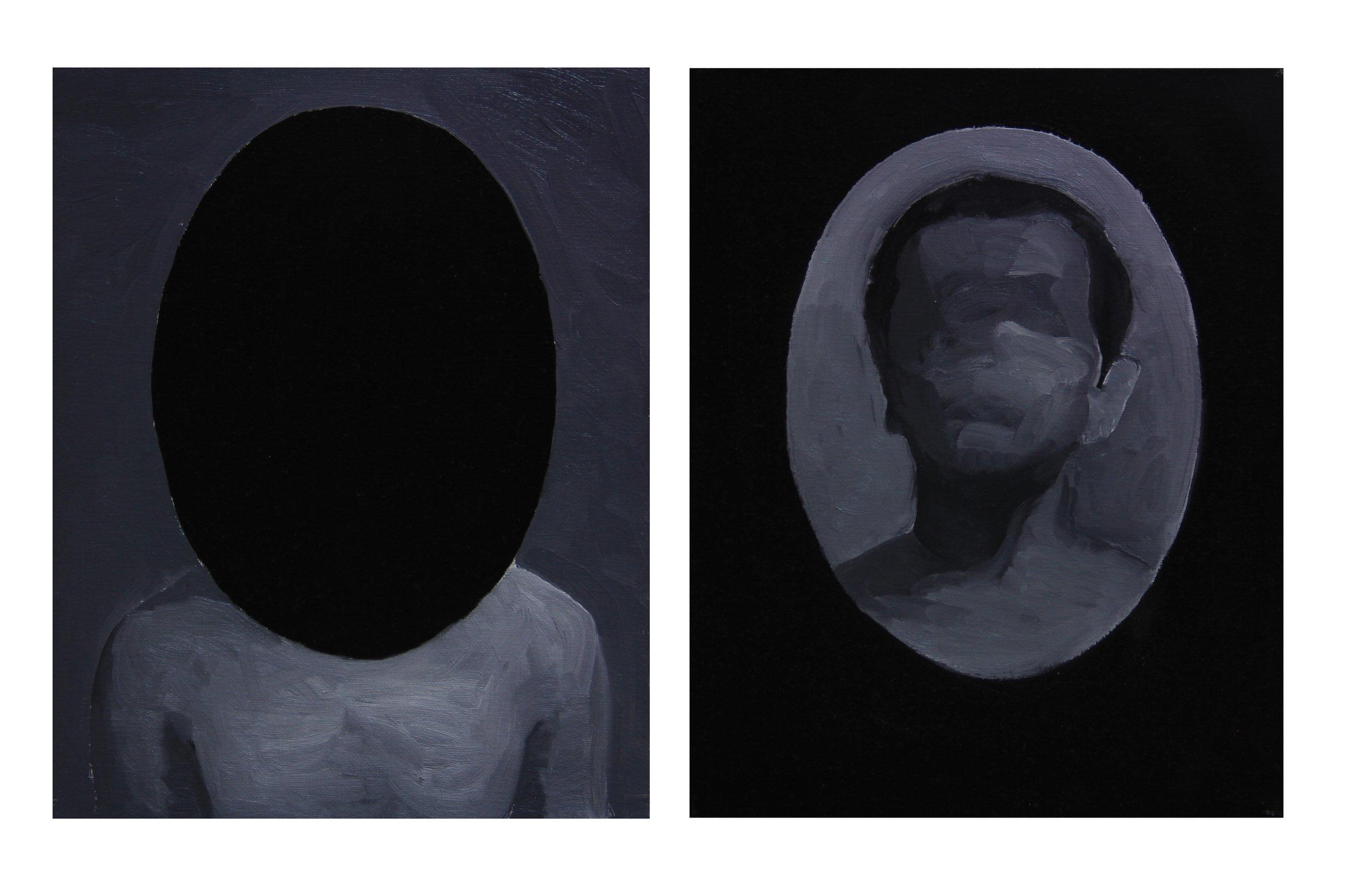 Two faces ,2013 ,24cm x 30cm x 2, Oil on canvas.jpg