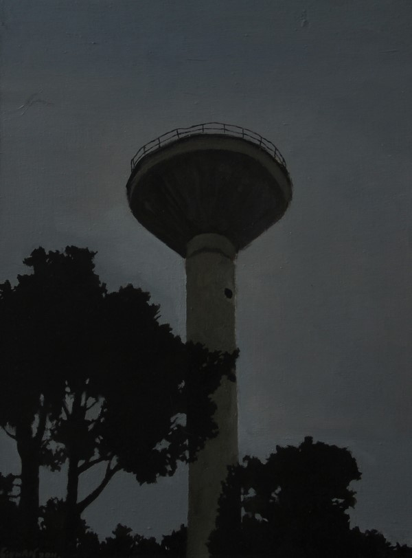Water tower  ,2011 , 30cm x 40cm, Oil on canvas.jpg