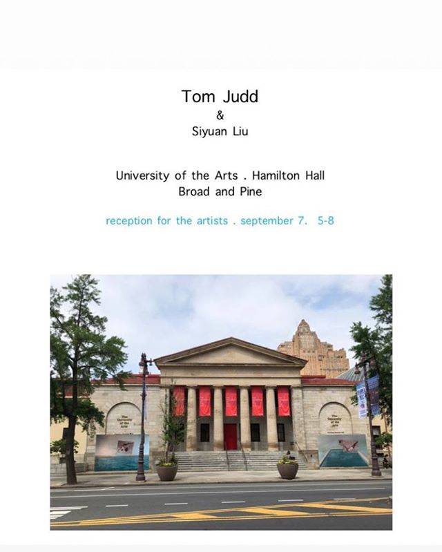Join us for the reception at Uarts tomorrow! Many thanks to @tomjuddart 🙌🙌🙌😄😄😄 . . #artist #publicart #contemporaryart #uarts #tomjudd #siyuanliu #reception #phillyart