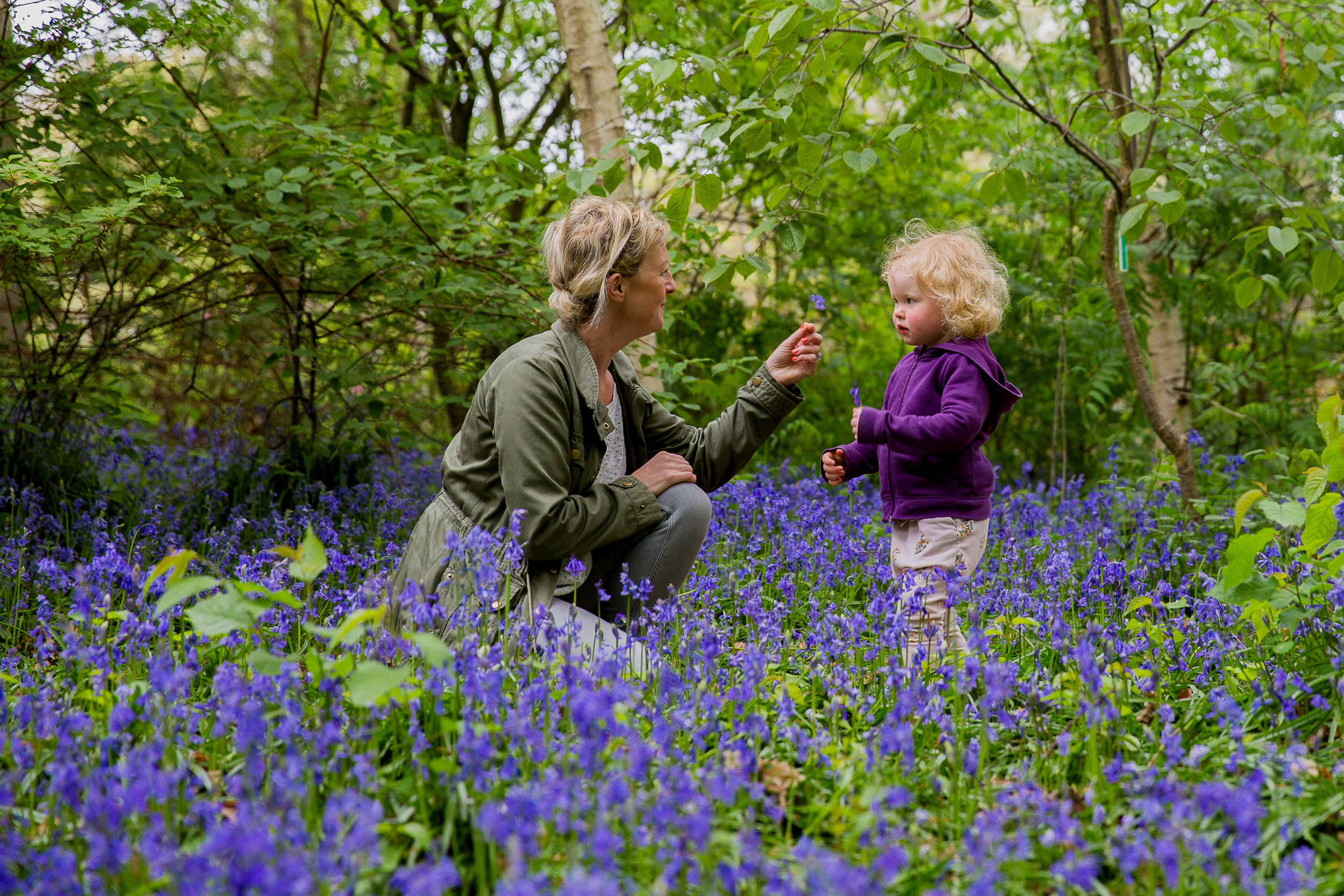 Mum and daughter in bluebells