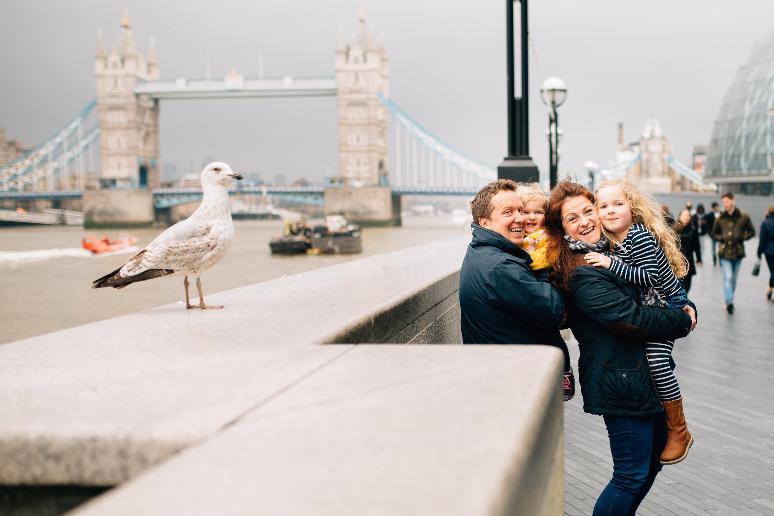 Family and seagull at Tower Bridge London