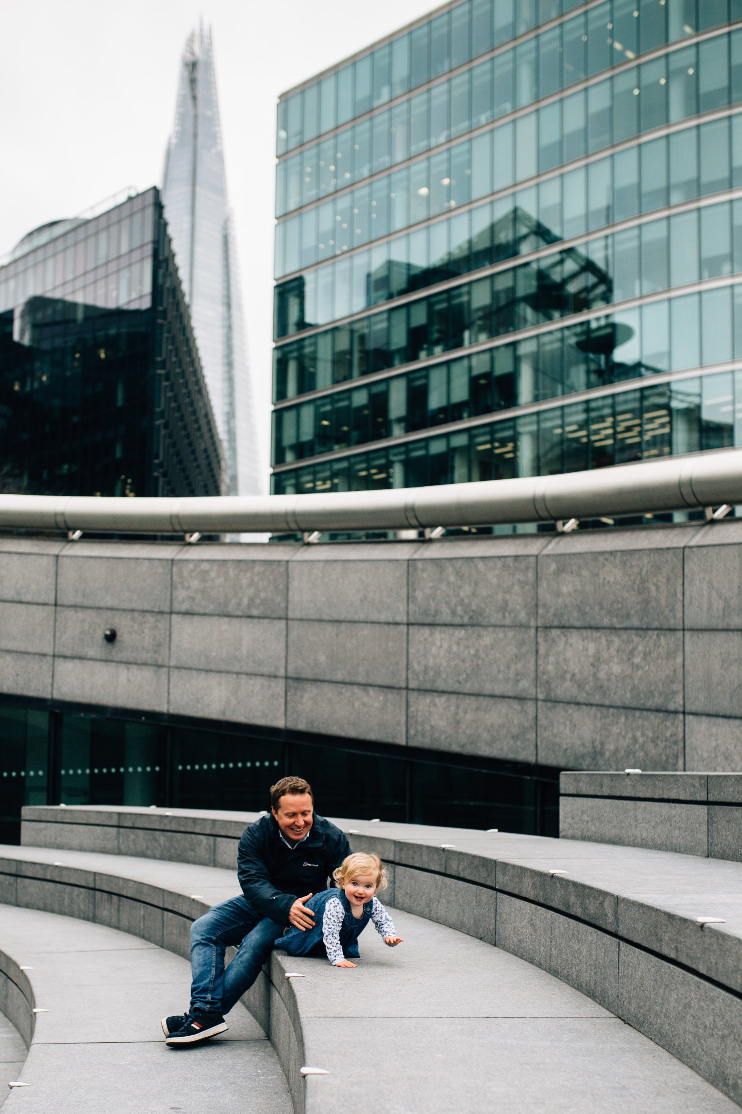 Dad and baby girl near the Shard, London Family Photographer