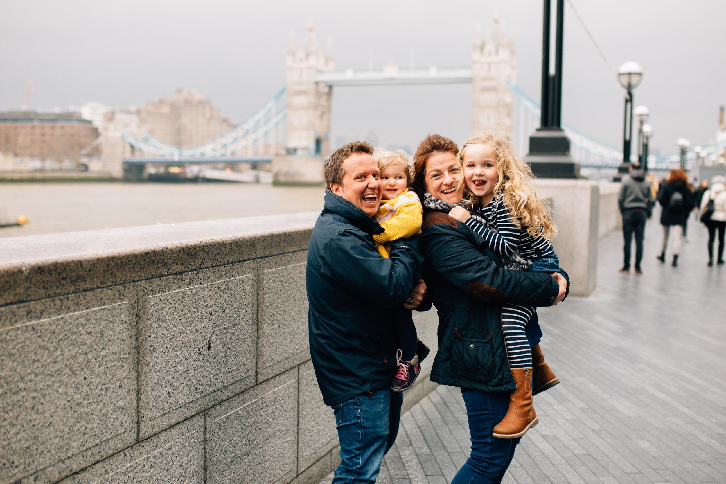 Family by Tower Bridge, London Family Photographer