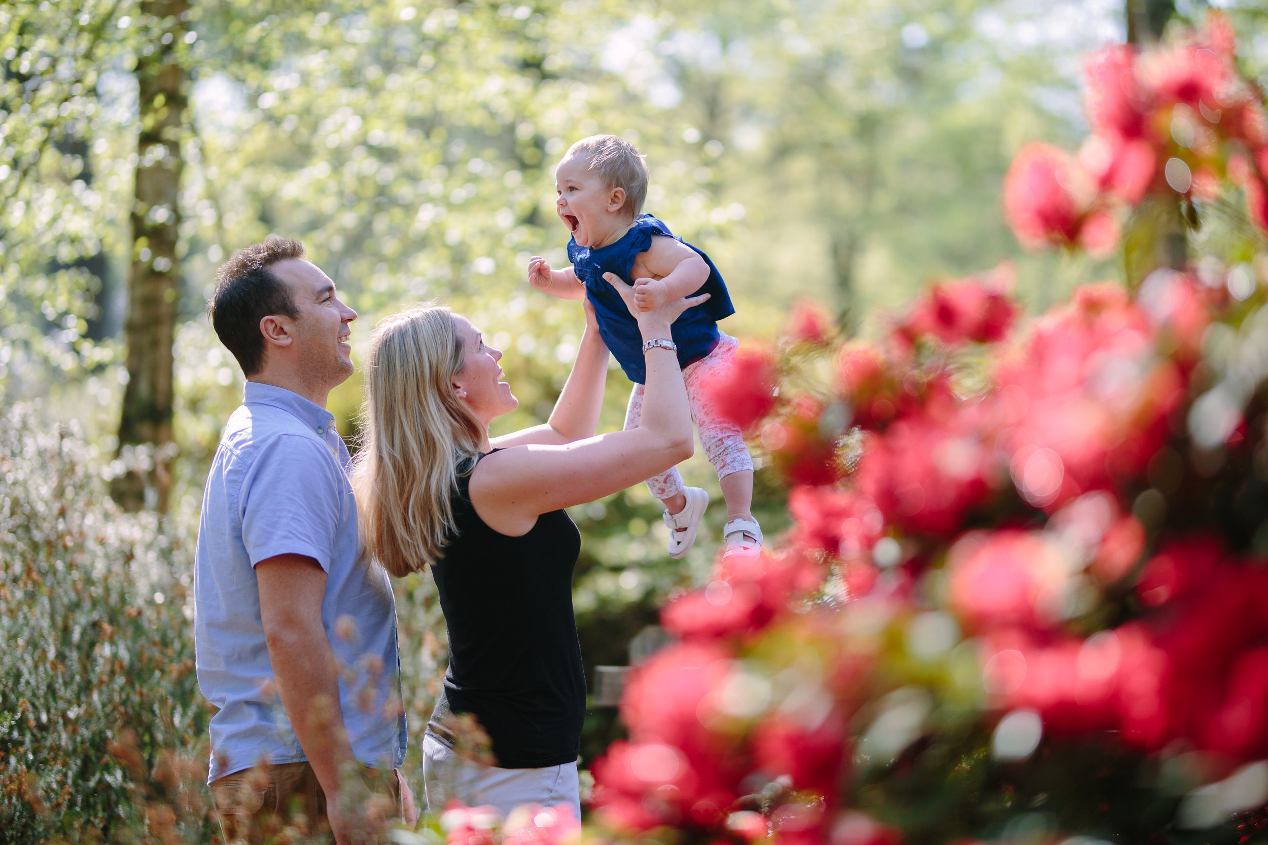 Family have fun among Spring blooms