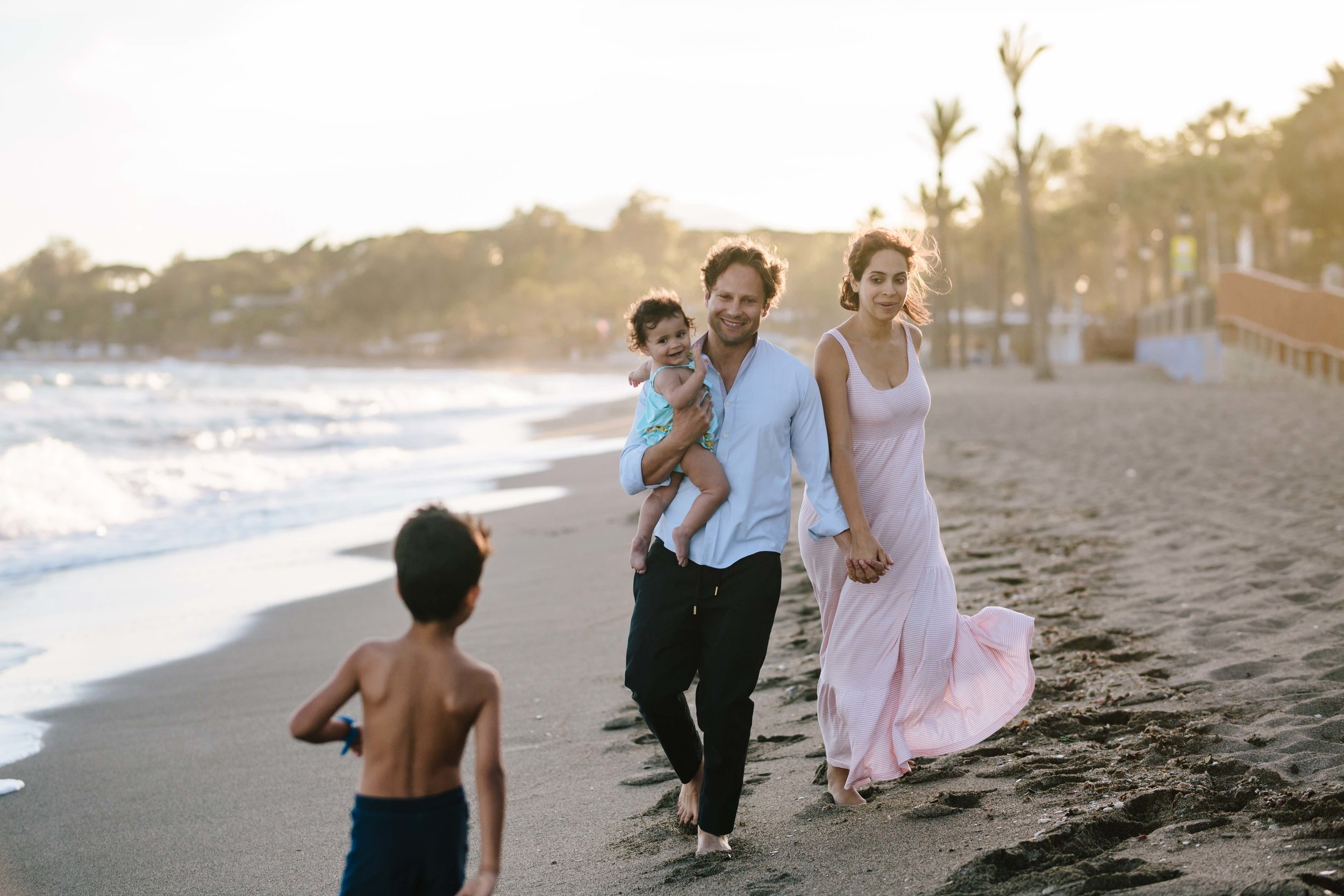 Golden hour Family shoot on beach in Marbella, spain