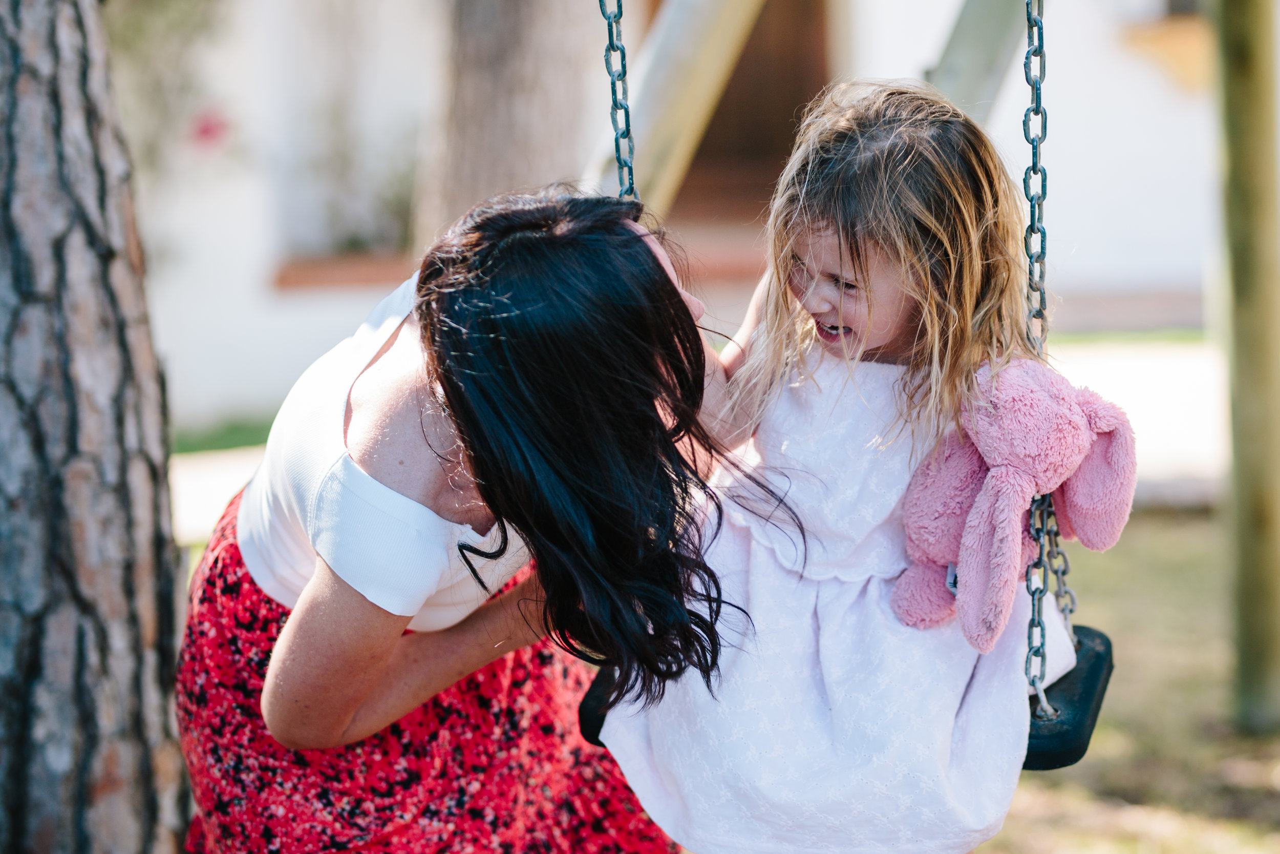 Mum and daughter on swings - london family photographer