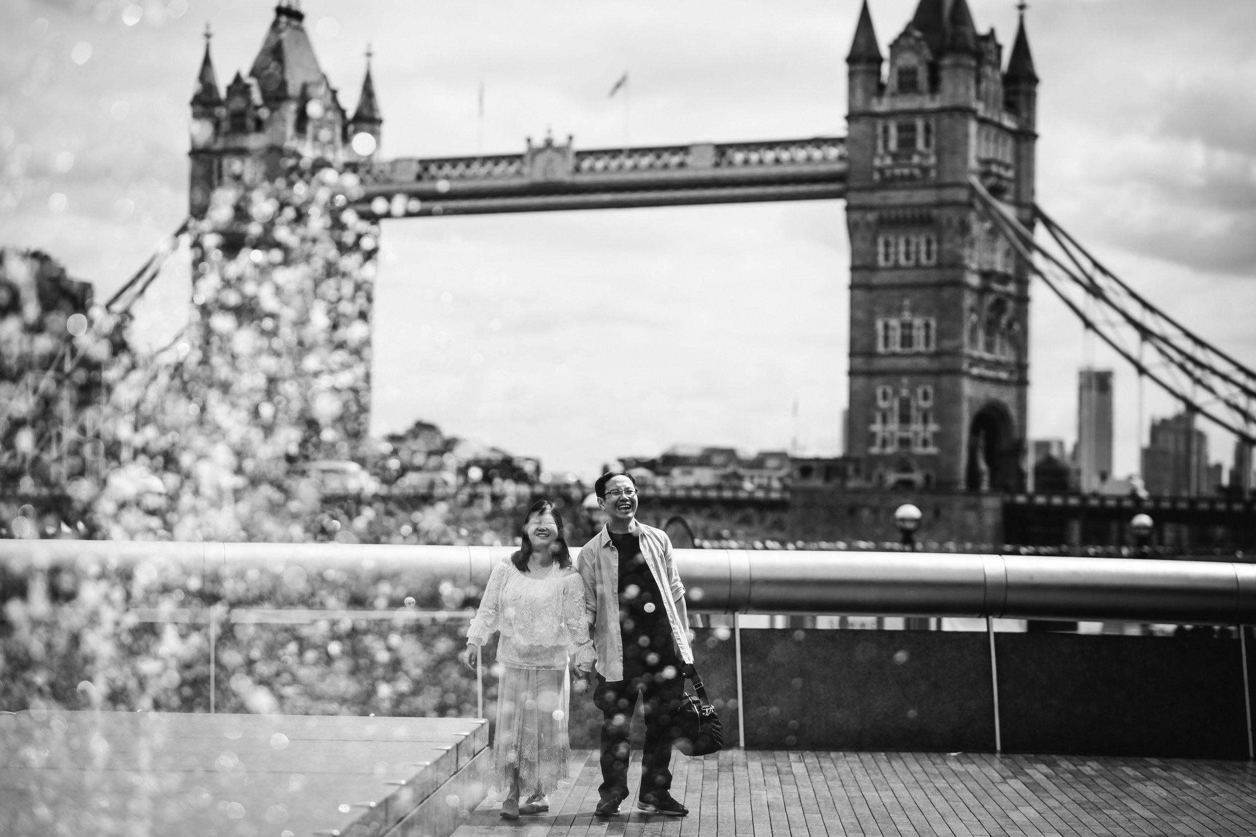 Couple near Tower Bridge, Southbank London Vacation Photographer