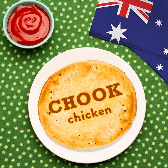 """Now you can speak and eat like an Aussie! Grab our savory """"Chook & Mushroom"""" or spicy """"Southwest Chook"""" for an American twist on the classic Australian meat pie. 🇦🇺"""