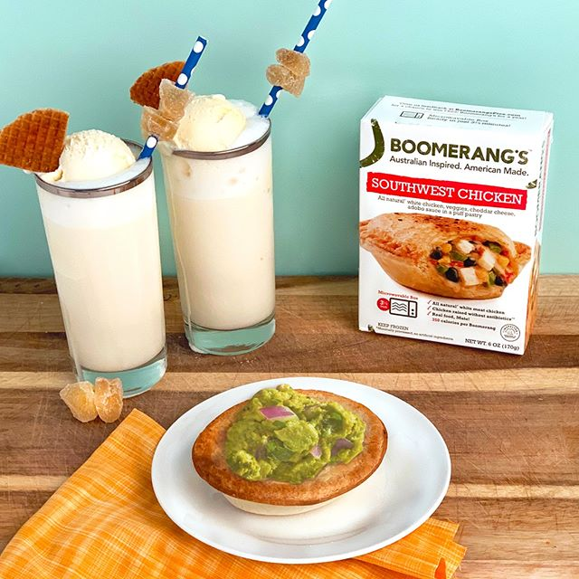 Did you know in Australia an ice cream float is called a Spider? We poured a ginger beer Spider as the perfect summer treat to pair with our delicious Southwest Chicken pie and avocado topper. 🥑🥧🍨🇦🇺 INGREDIENTS: *4-6 slices of candied ginger *cold ginger beer *4 scoops vanilla ice cream *2 pizzelle cookies  DIRECTIONS: Skewer candied-ginger slices onto each of 2 drinking straws. Pour ginger beer into 2 chilled glasses until three-fourths full. Top each glass with 2 scoops of vanilla ice cream. Add one candied-ginger straw and pizzelle cooke to each glass. Optional delicousness: Dollop with whipped cream. Enjoy!
