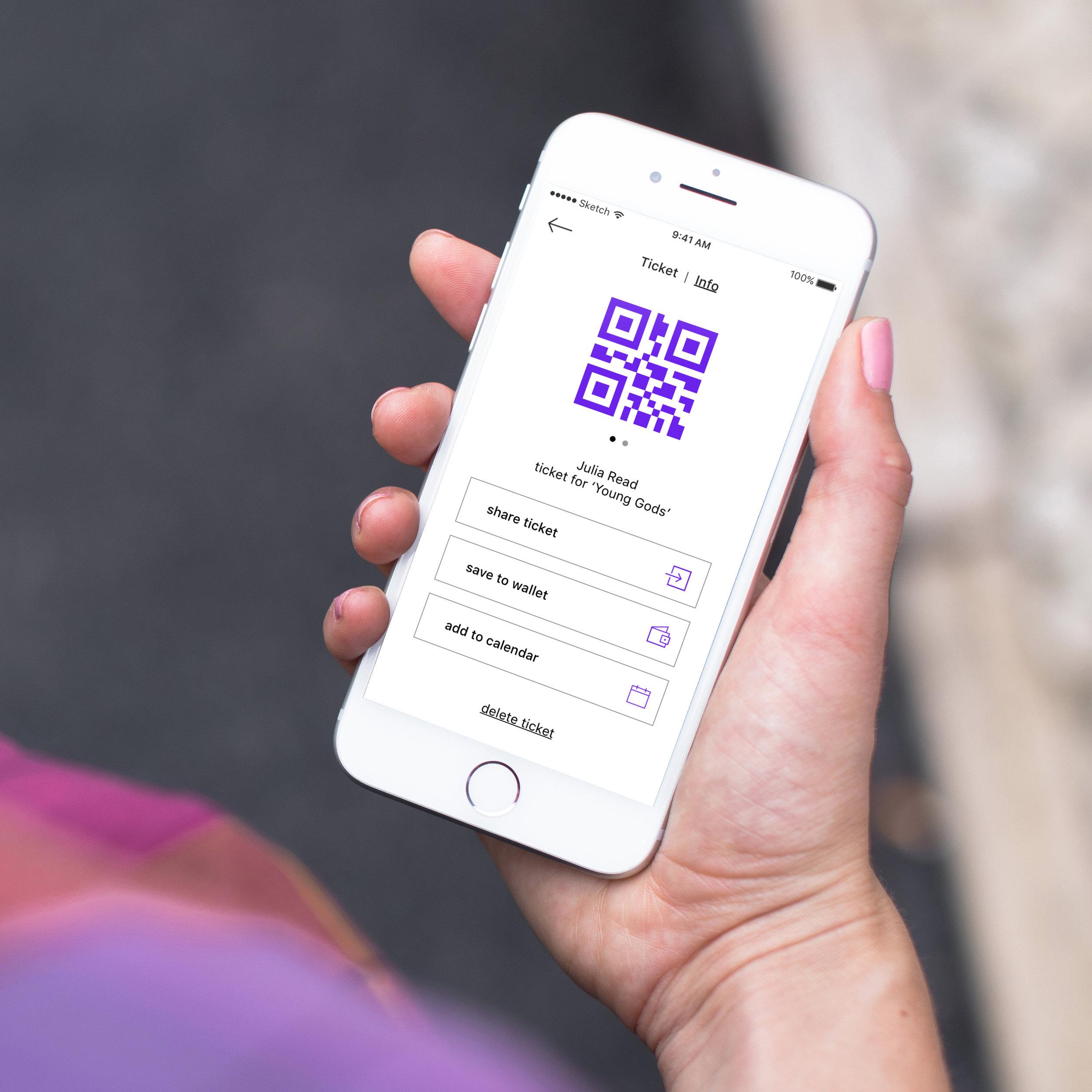 ticket QR code / info toggle