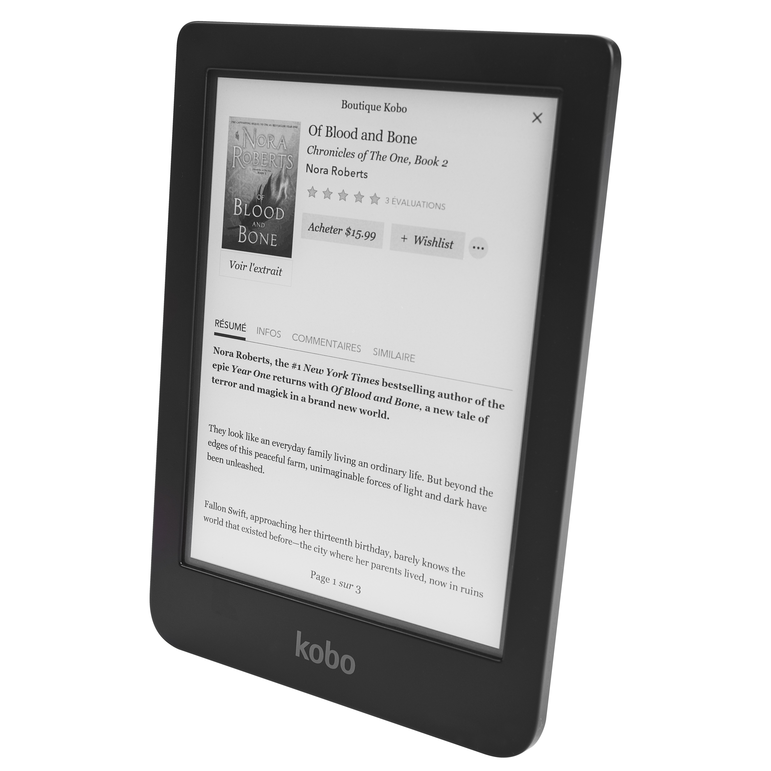 "Kobo E-Reader  - 6"" touchscreen display with 1072 x 1448 resolution - Automatically changes colour to help reduce blue-light exposure - 8GB of on-board memory"
