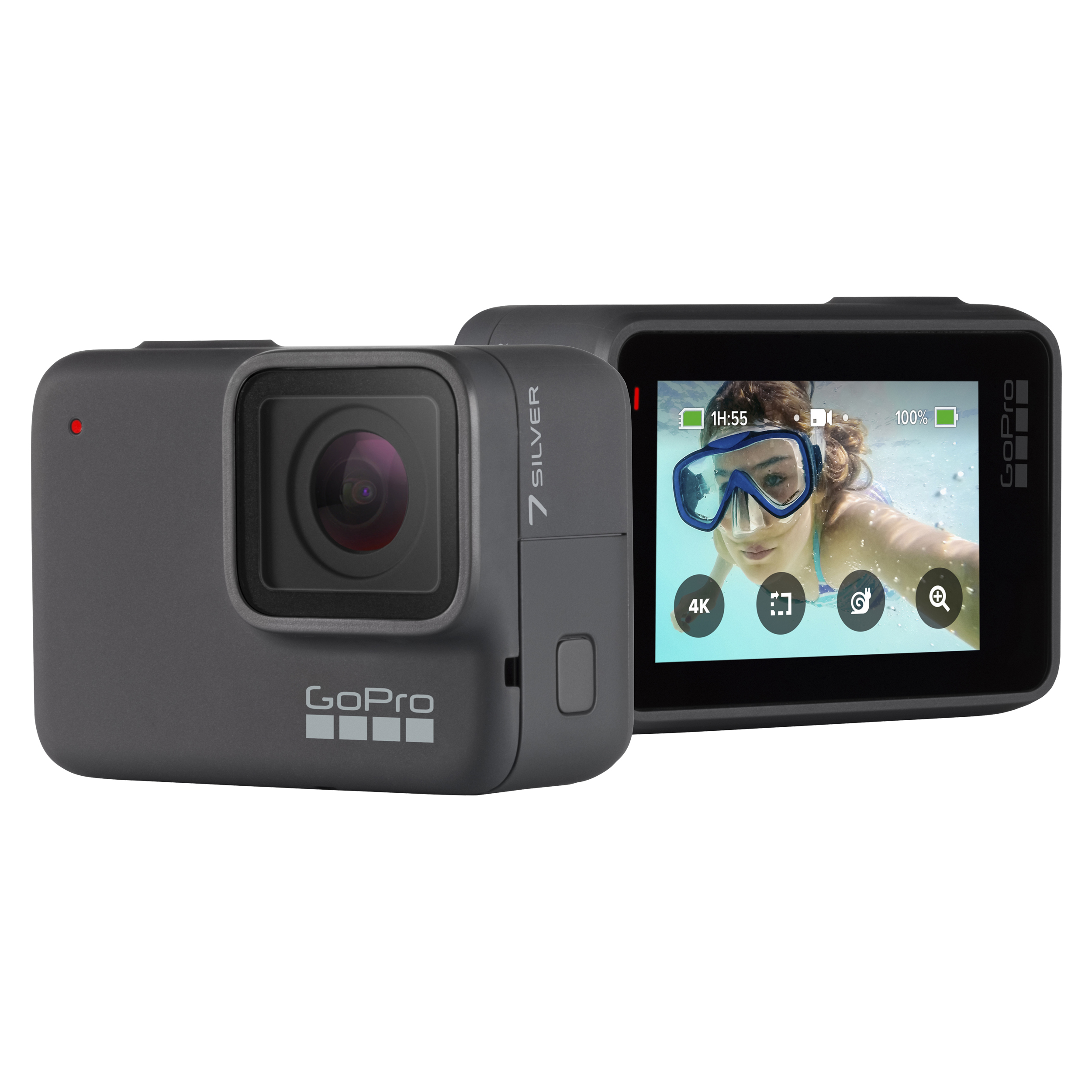 GoPro HERO7 Camera  - Captures 4K video and WDR photo - Rugged and waterproof - Equipped with GPS