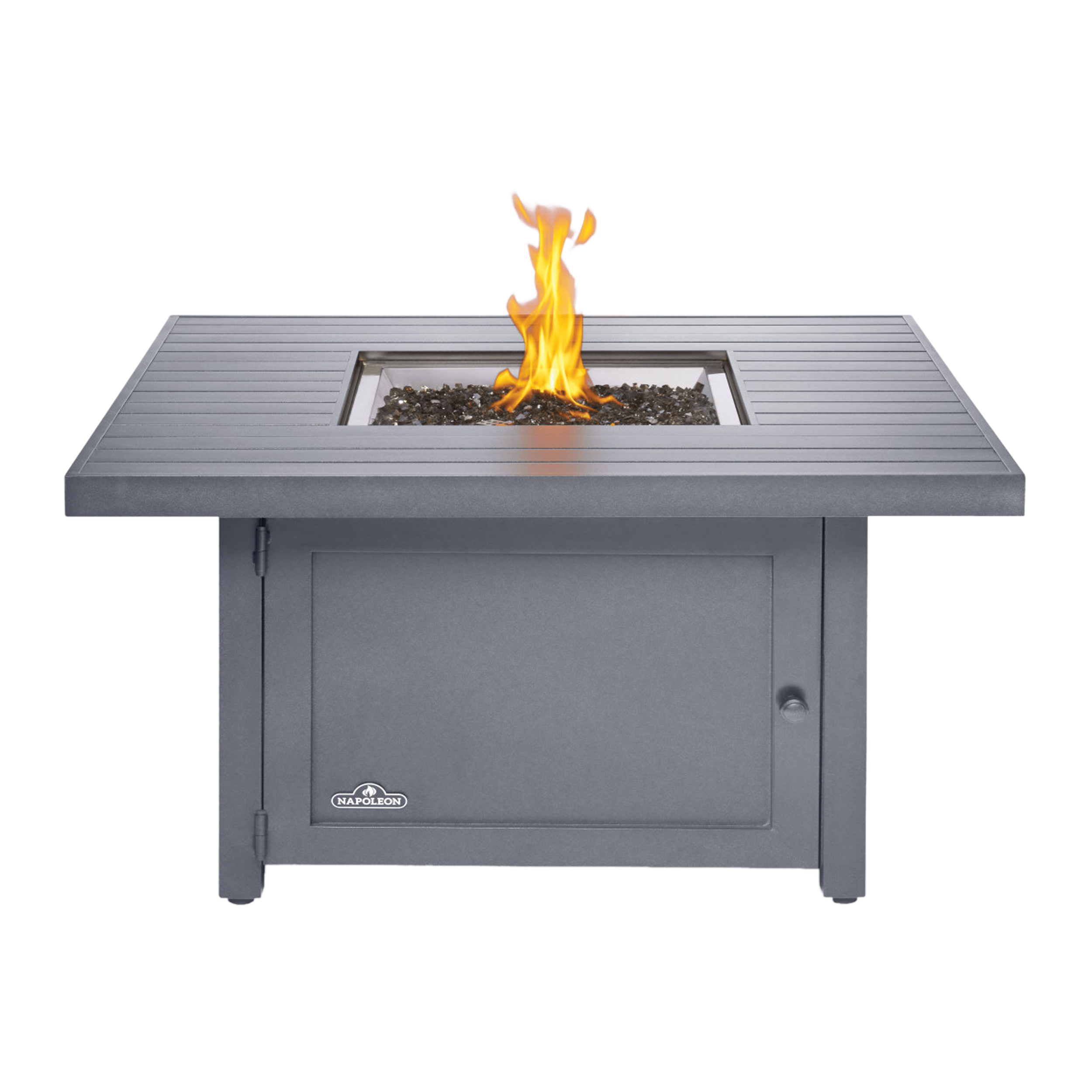 "Napoleon Patioflame Propane Fire Pit  - Topaz CRYSTALINE ember bed makes it safe on most outdoor surfaces - ""Easy Start"" ignition produces heat up to 40,000 BTUs - Lightweight rust-resistant aluminum construction"