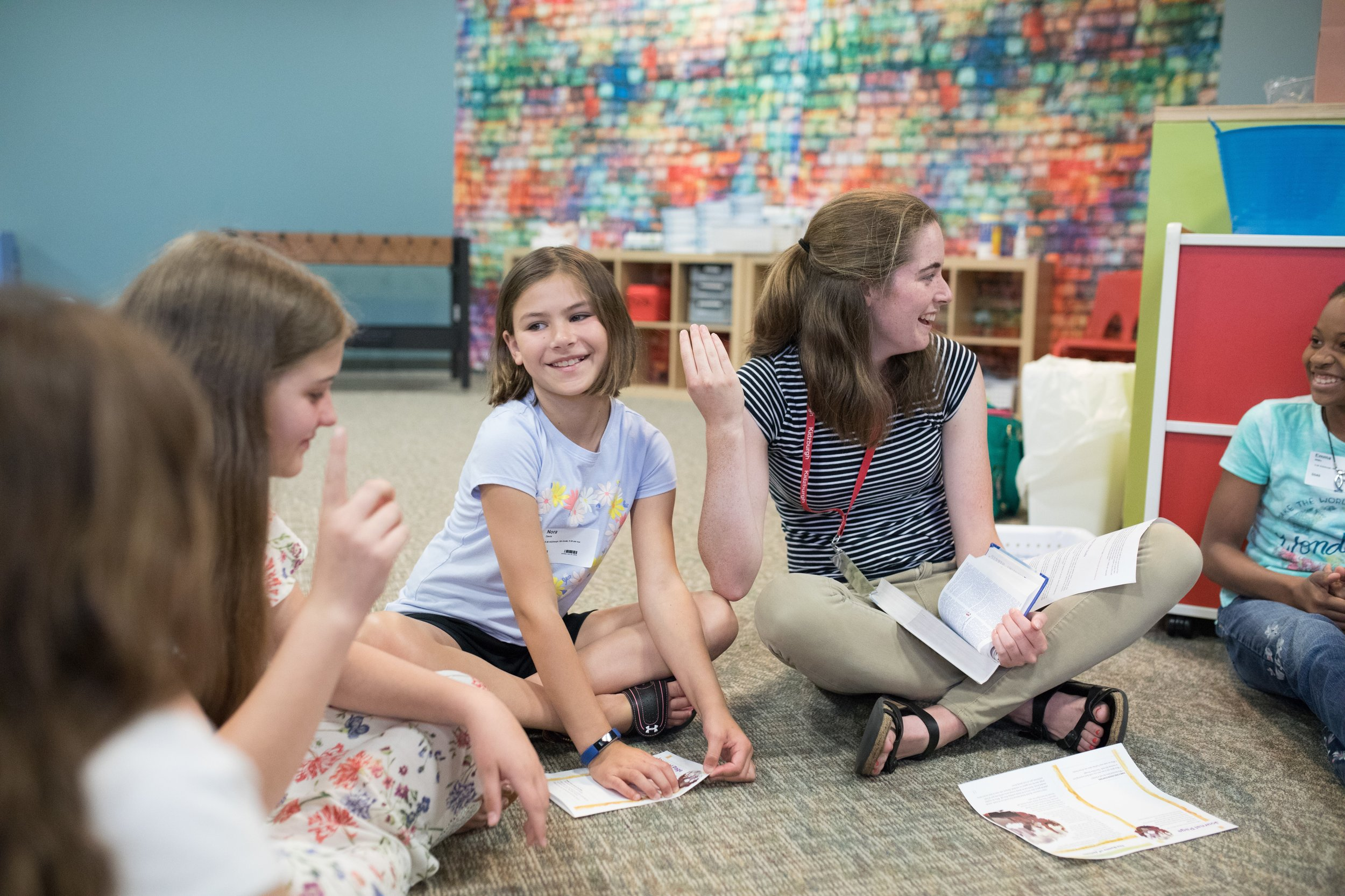 Elementary - Kids spend time in large groups to learn through focused games, worship, and creative teaching and activities.Kids spend time in small groups to get to know each other, discuss the Bible and apply it to their lives.