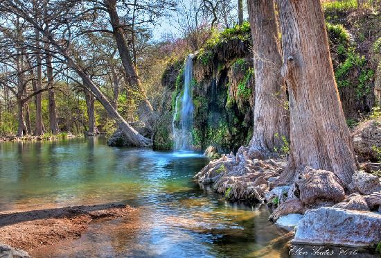 Krause Springs - Krause Springs has many natural sites to explore. There are 32 springs on the property, and several feed the manmade pool and the natural pool which flows into Lake Travis. It's a refreshing treat to swim in the Springs during the hot summers of Texas! If camping is in your plans, there is primitive tent camping as well as 24 RV sites with water and electricity available. Guests are also welcome to relax and to stroll through the Butterfly Gardens; take time to listen to the music of the wind chimes and the fountains during your visit.
